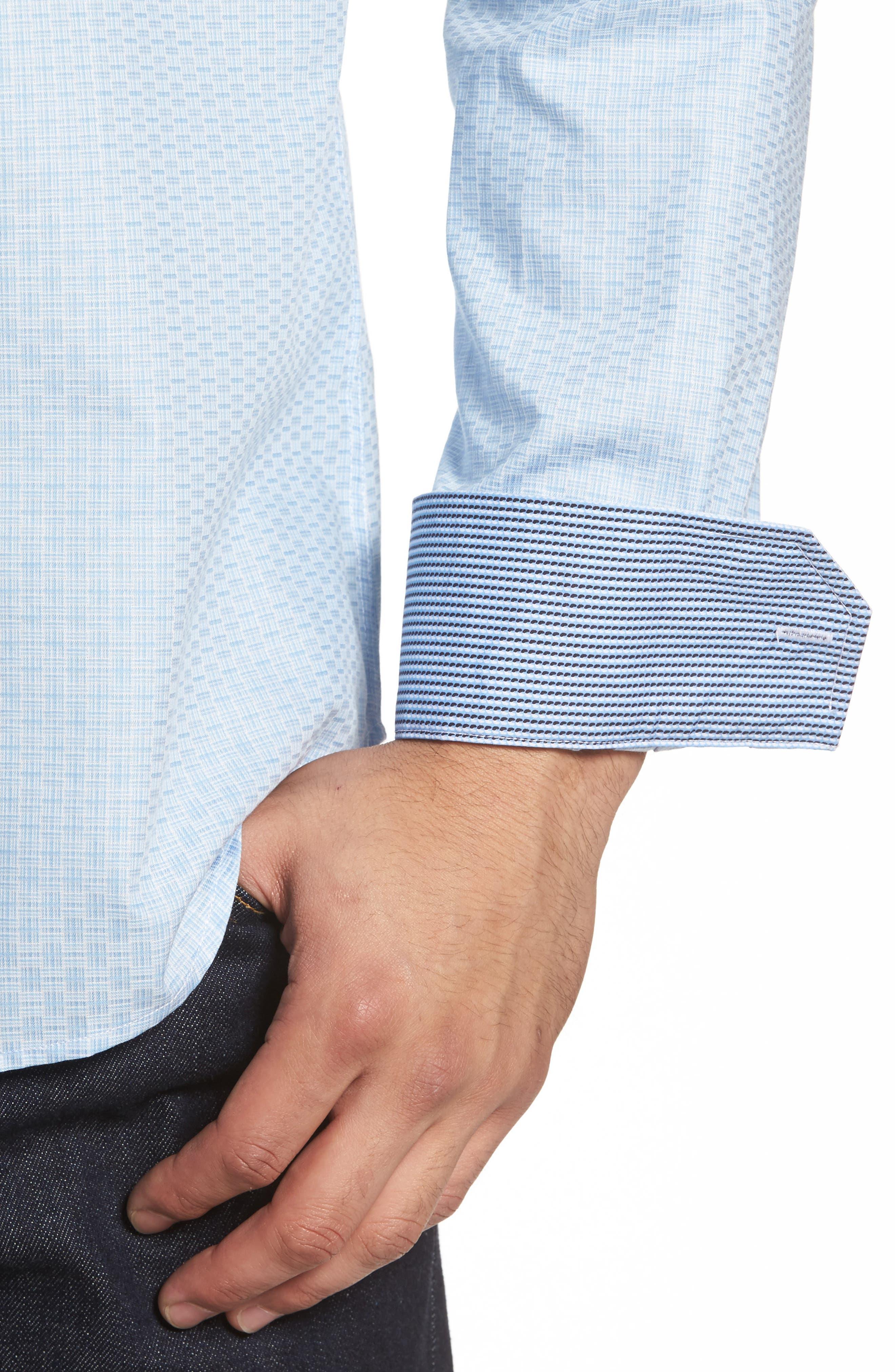 Shaped Fit Check Sport Shirt,                             Alternate thumbnail 4, color,                             459