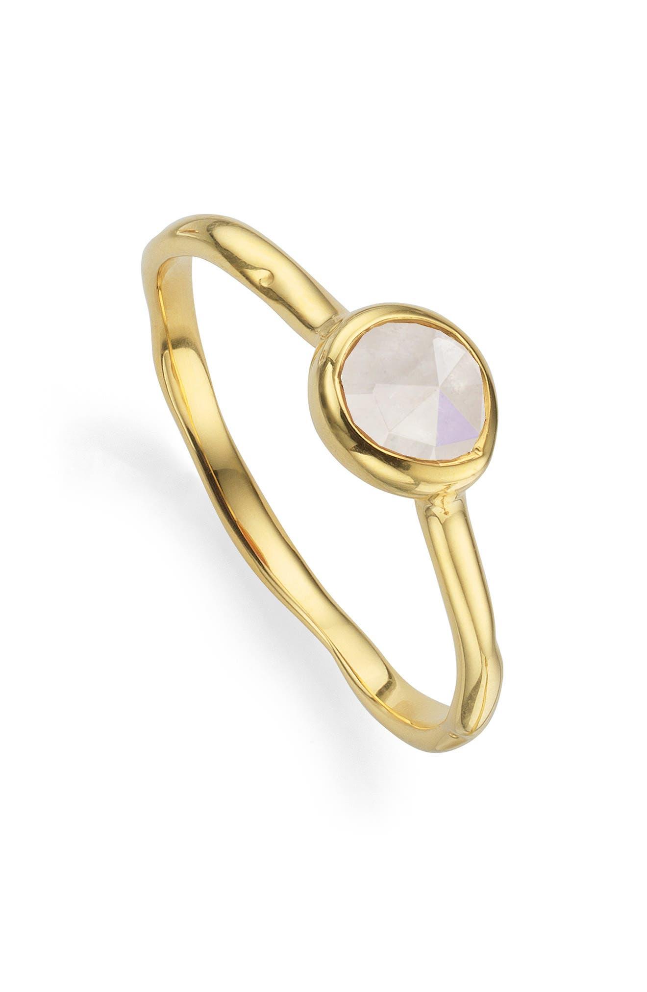 Siren Small Semiprecious Stone Stacking Ring,                             Main thumbnail 1, color,                             GOLD/ MOONSTONE