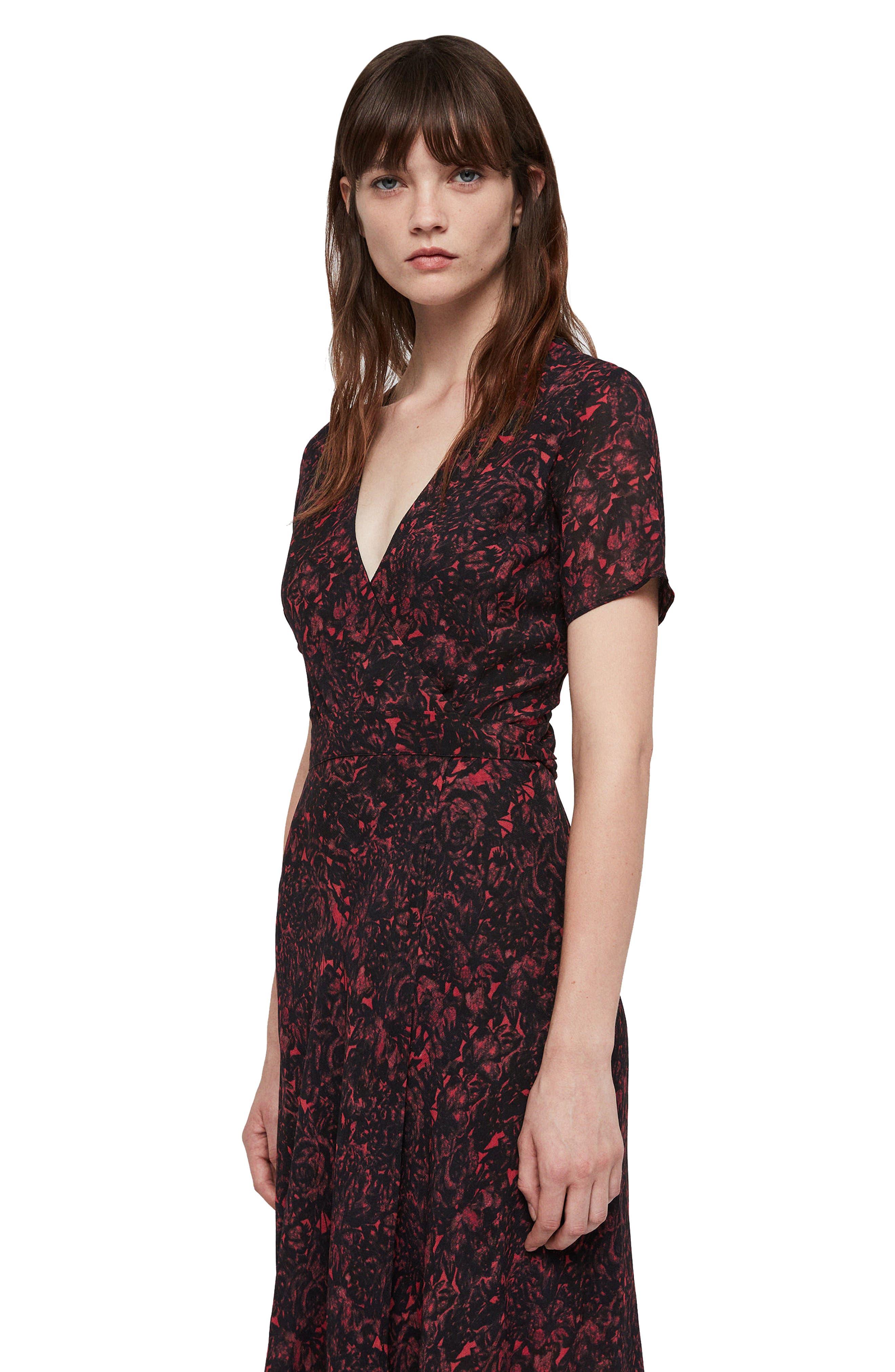 ALLSAINTS,                             Seeta Rosey Midi Dress,                             Alternate thumbnail 5, color,                             622