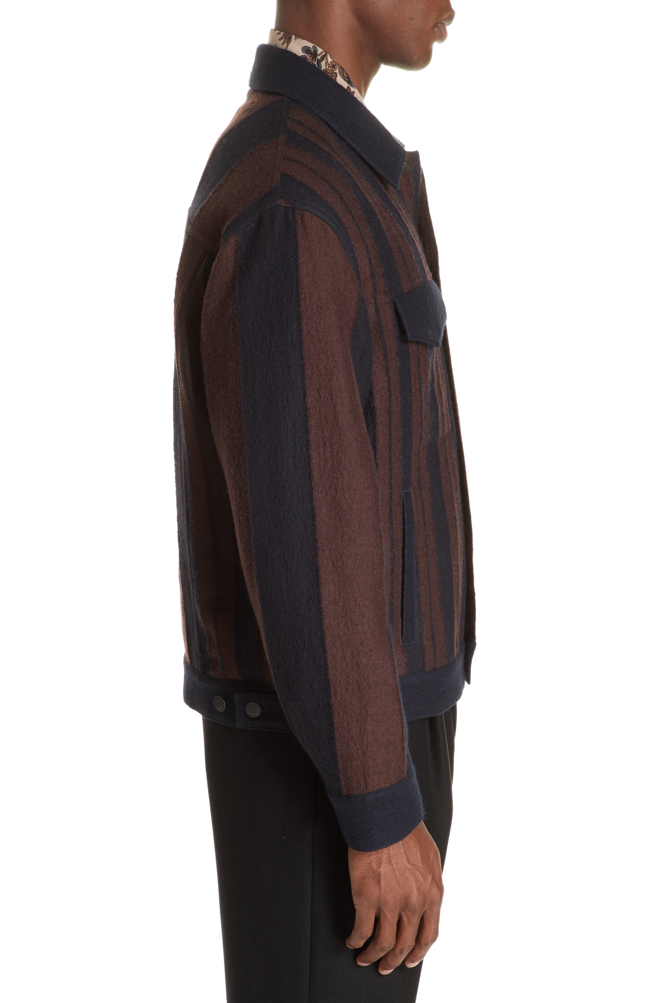 Stripe Wool Blend Jacket,                             Alternate thumbnail 3, color,                             001