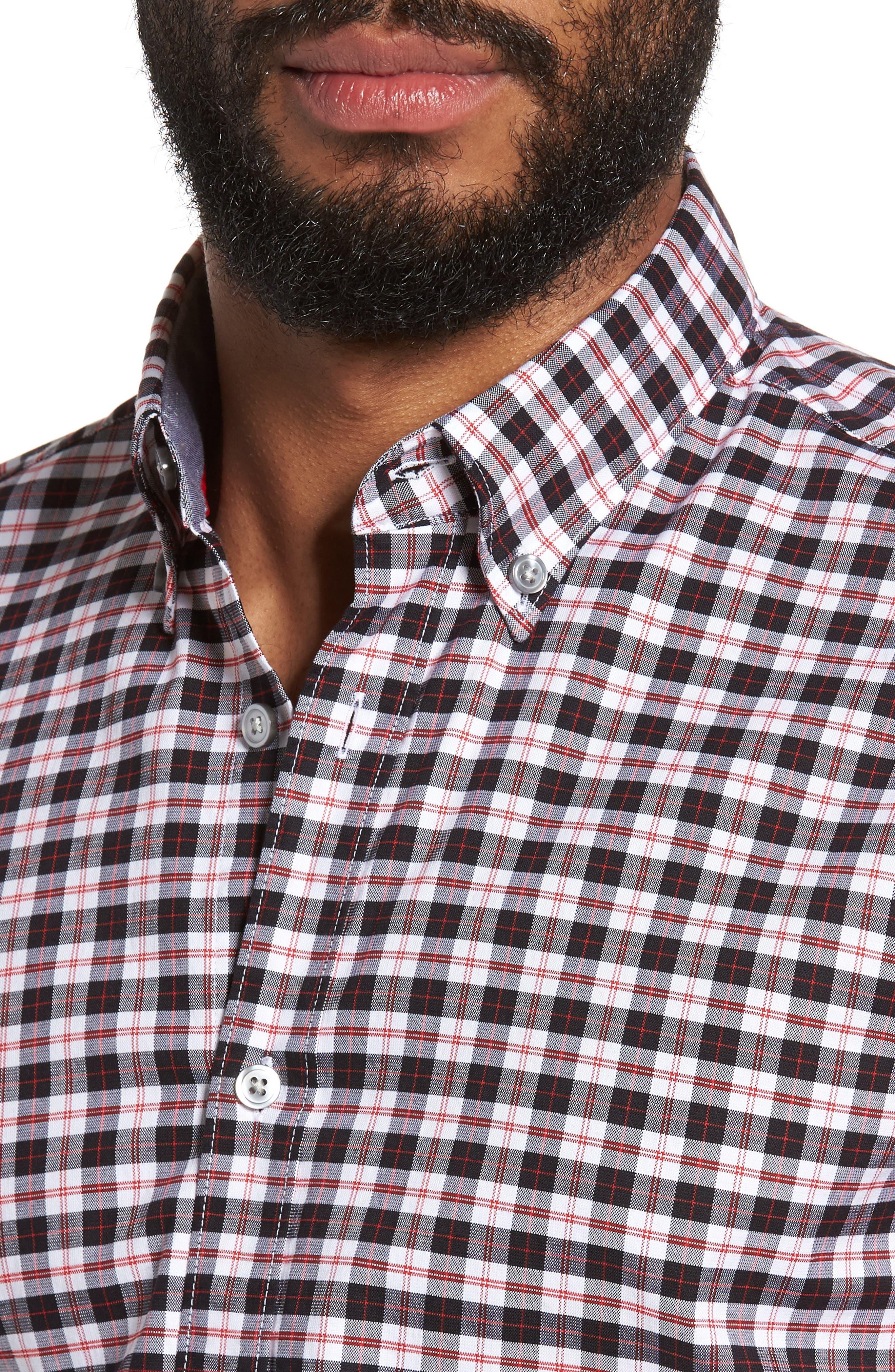 Rod Trim Fit Check Oxford Sport Shirt,                             Alternate thumbnail 4, color,                             001
