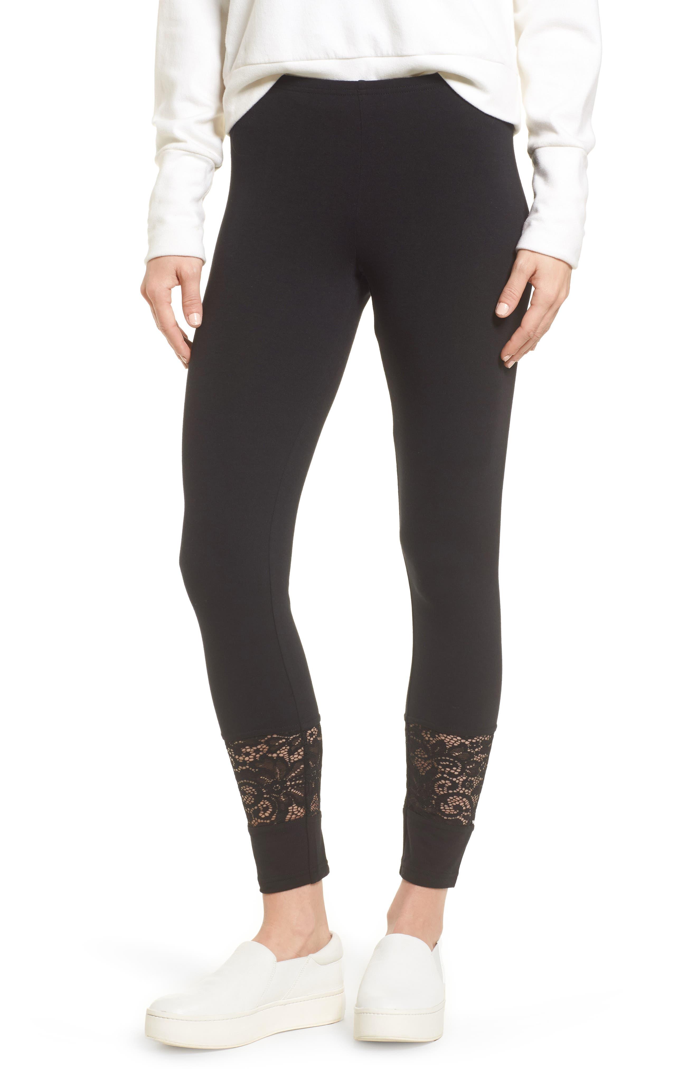 Lace Block Skimmer Leggings,                         Main,                         color, 001