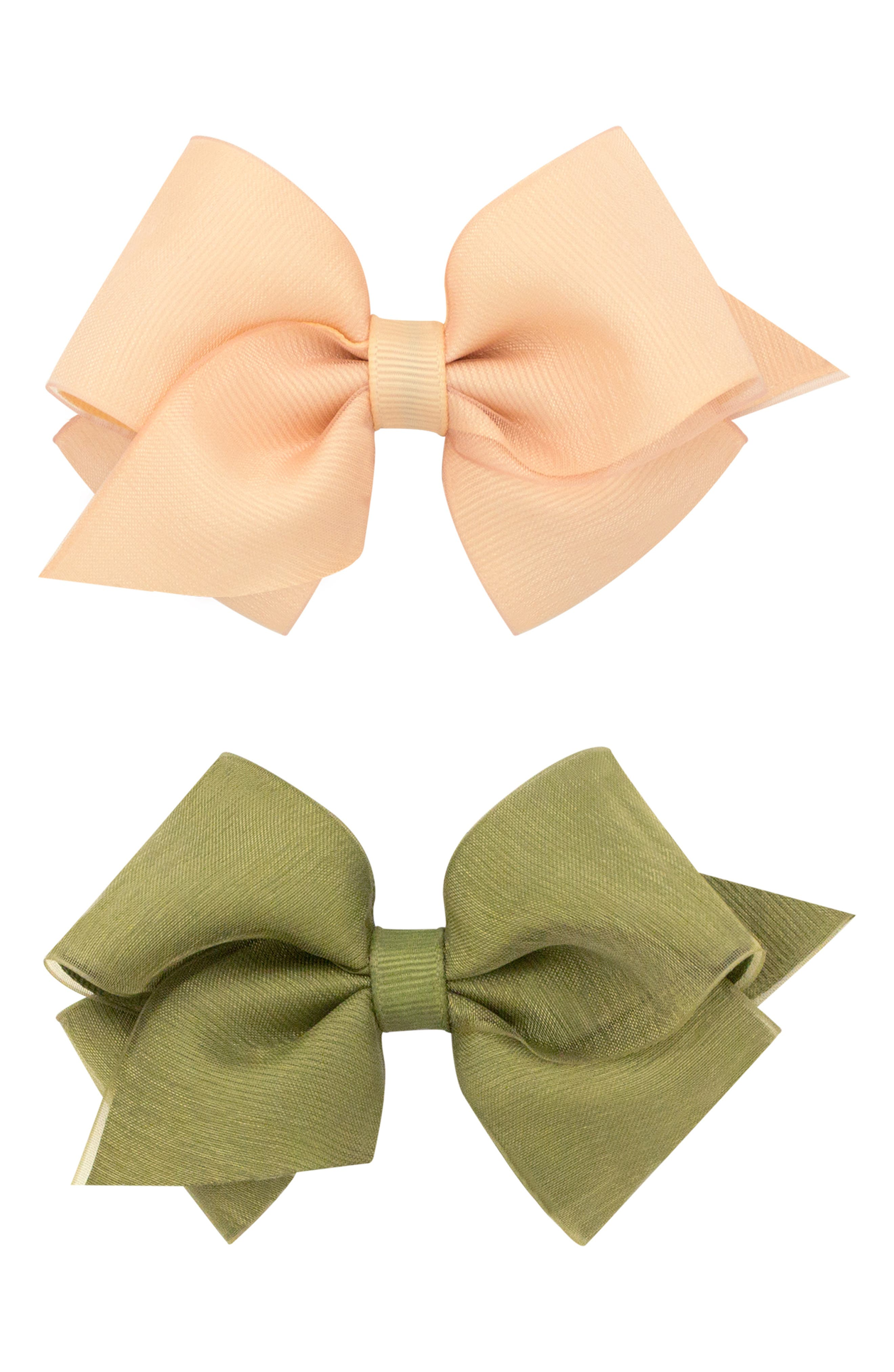 2-Pack Organza Bow Hair Clips,                             Alternate thumbnail 2, color,                             NUDE