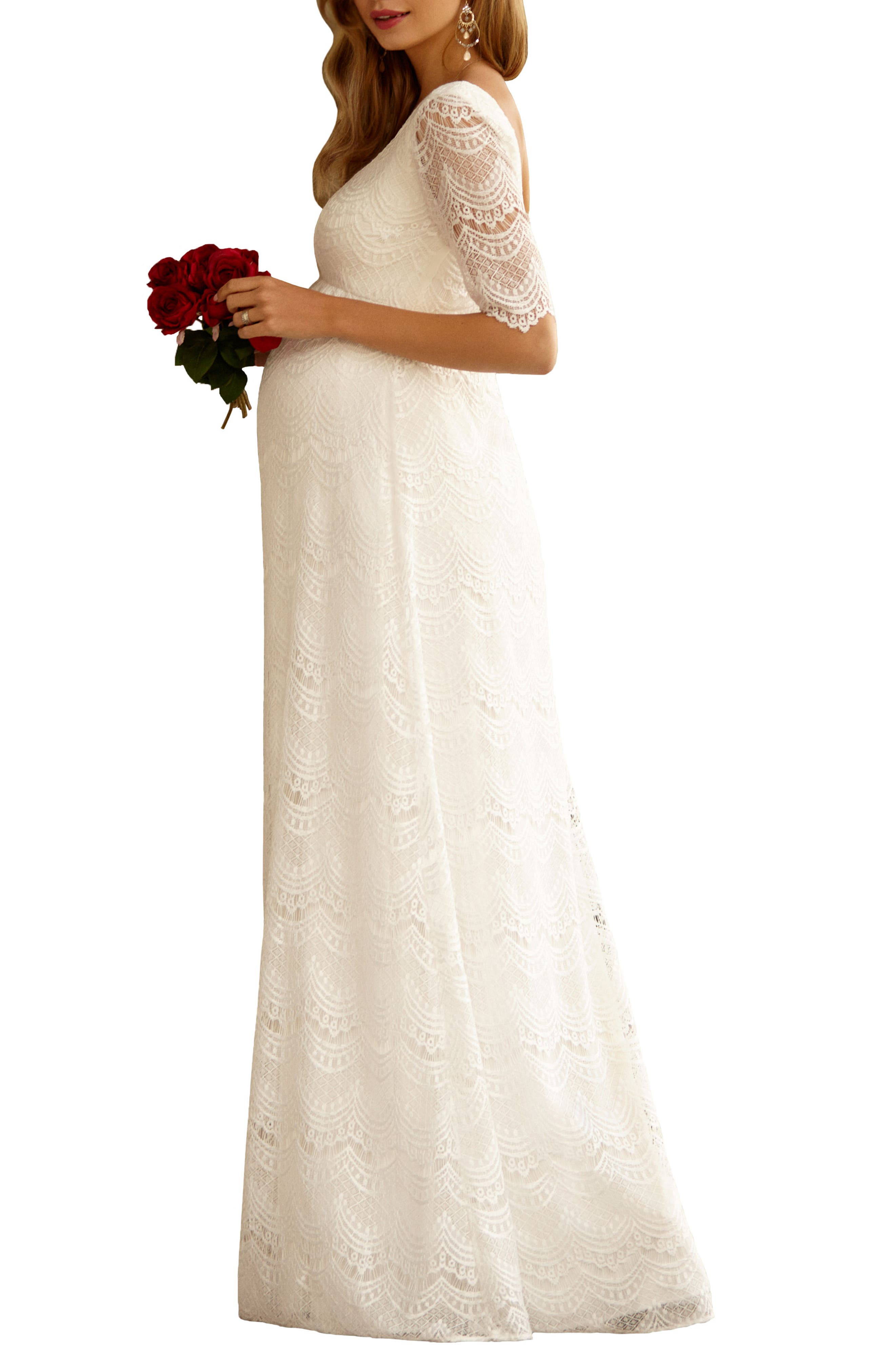 Verona Maternity Gown,                             Alternate thumbnail 2, color,                             BRIGHT IVORY