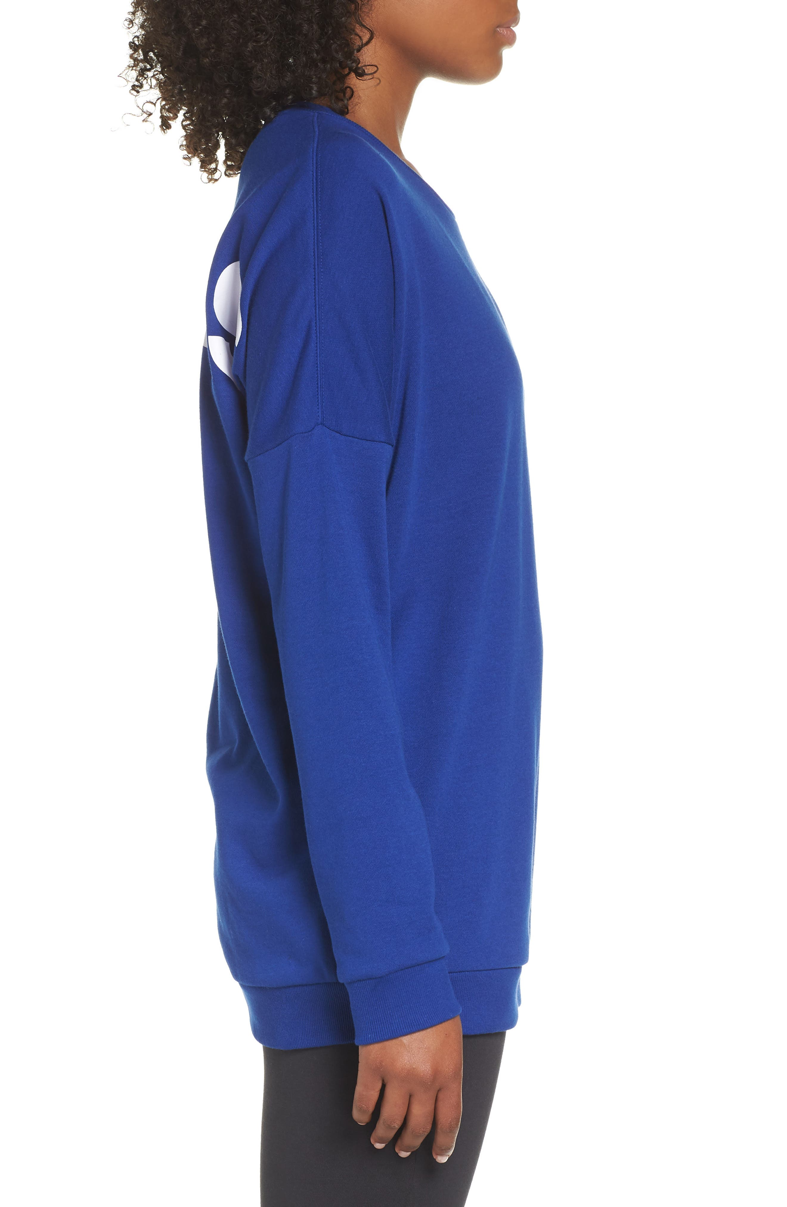 adidas Oversize Crewneck Sweatshirt,                             Alternate thumbnail 3, color,                             MYSTERY INK