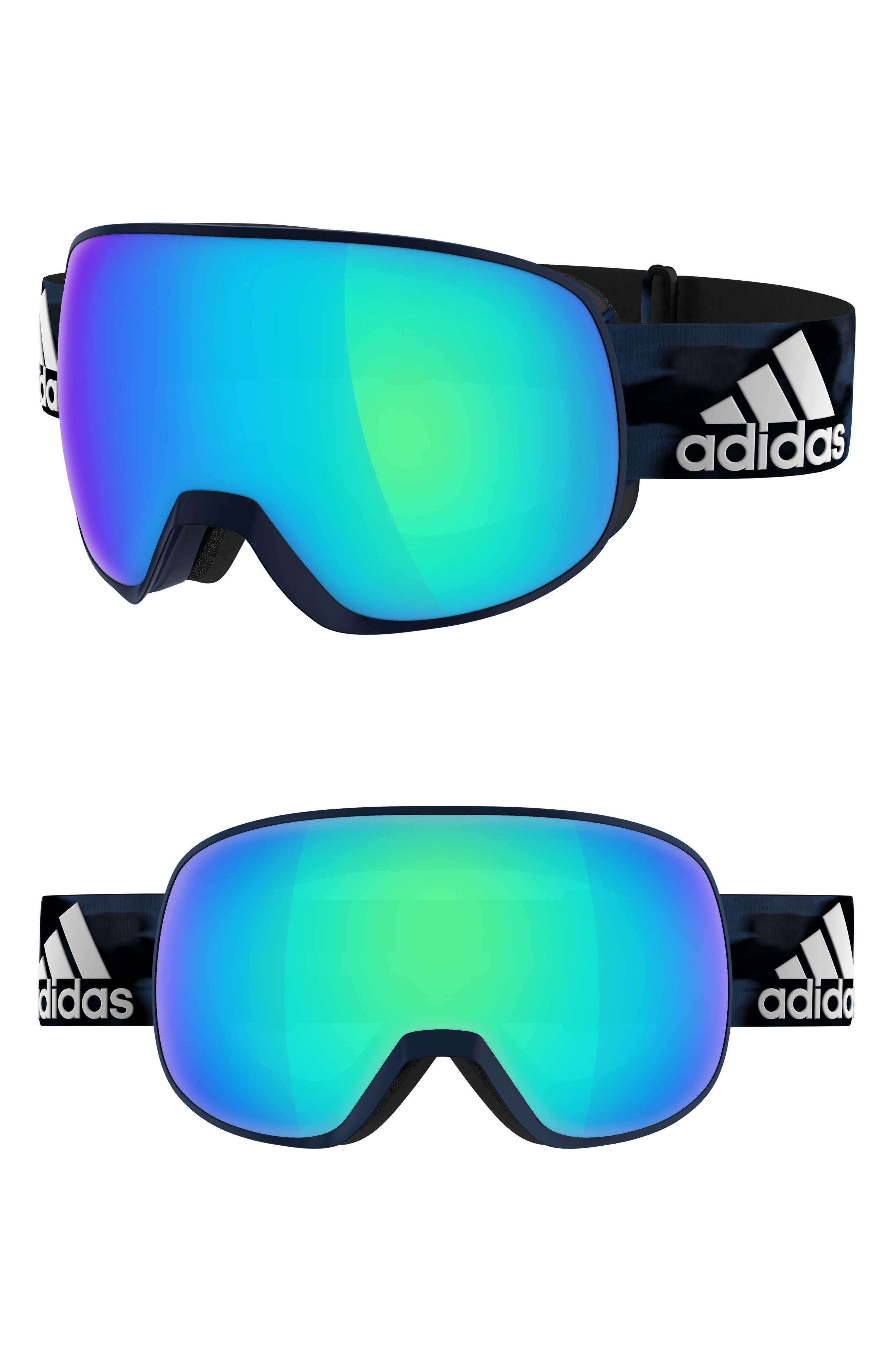 Progressor C Mirrored Spherical Snowsports Goggles,                         Main,                         color, MYSTERY BLUE/ BLUE