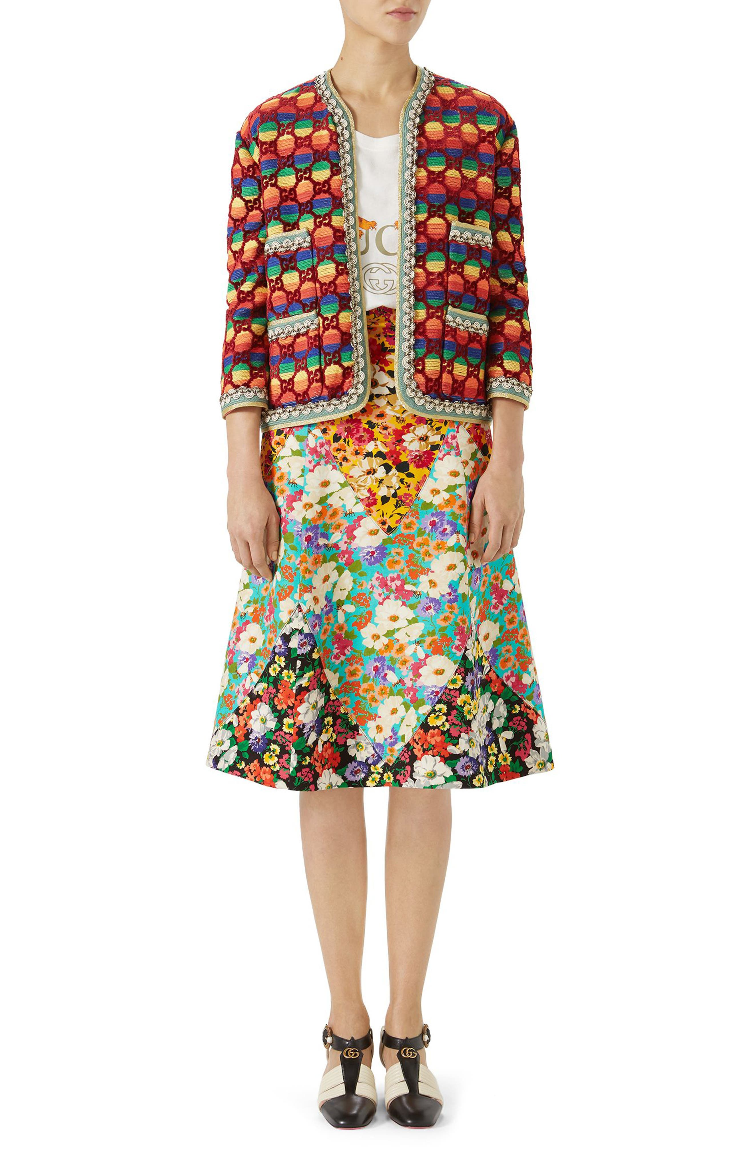 Floral Print Cady A-Line Skirt,                             Alternate thumbnail 3, color,                             YELLOW-MULTICOLOR