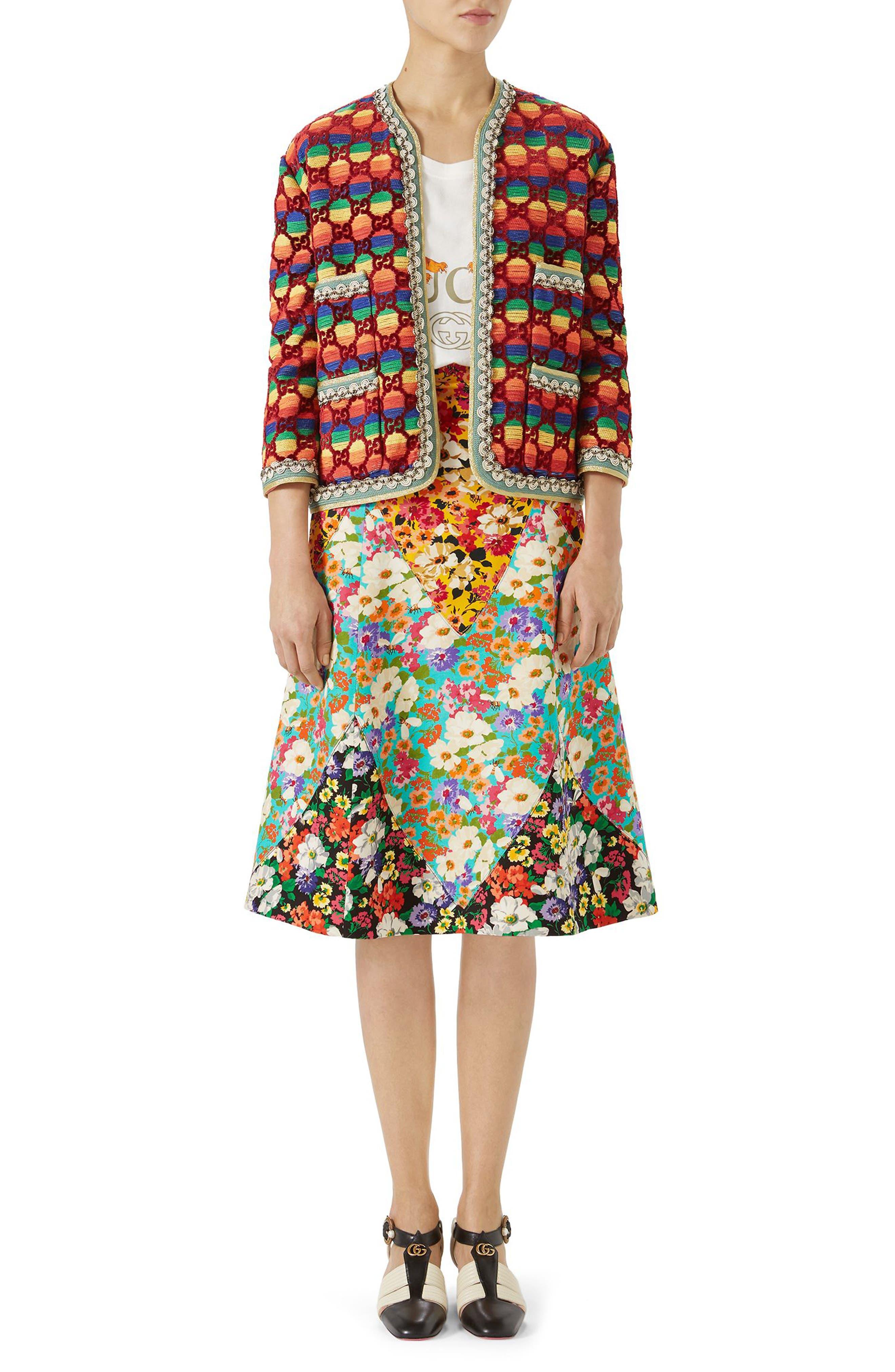 GG Rainbow Stripe Velvet Jacket,                             Alternate thumbnail 3, color,                             621