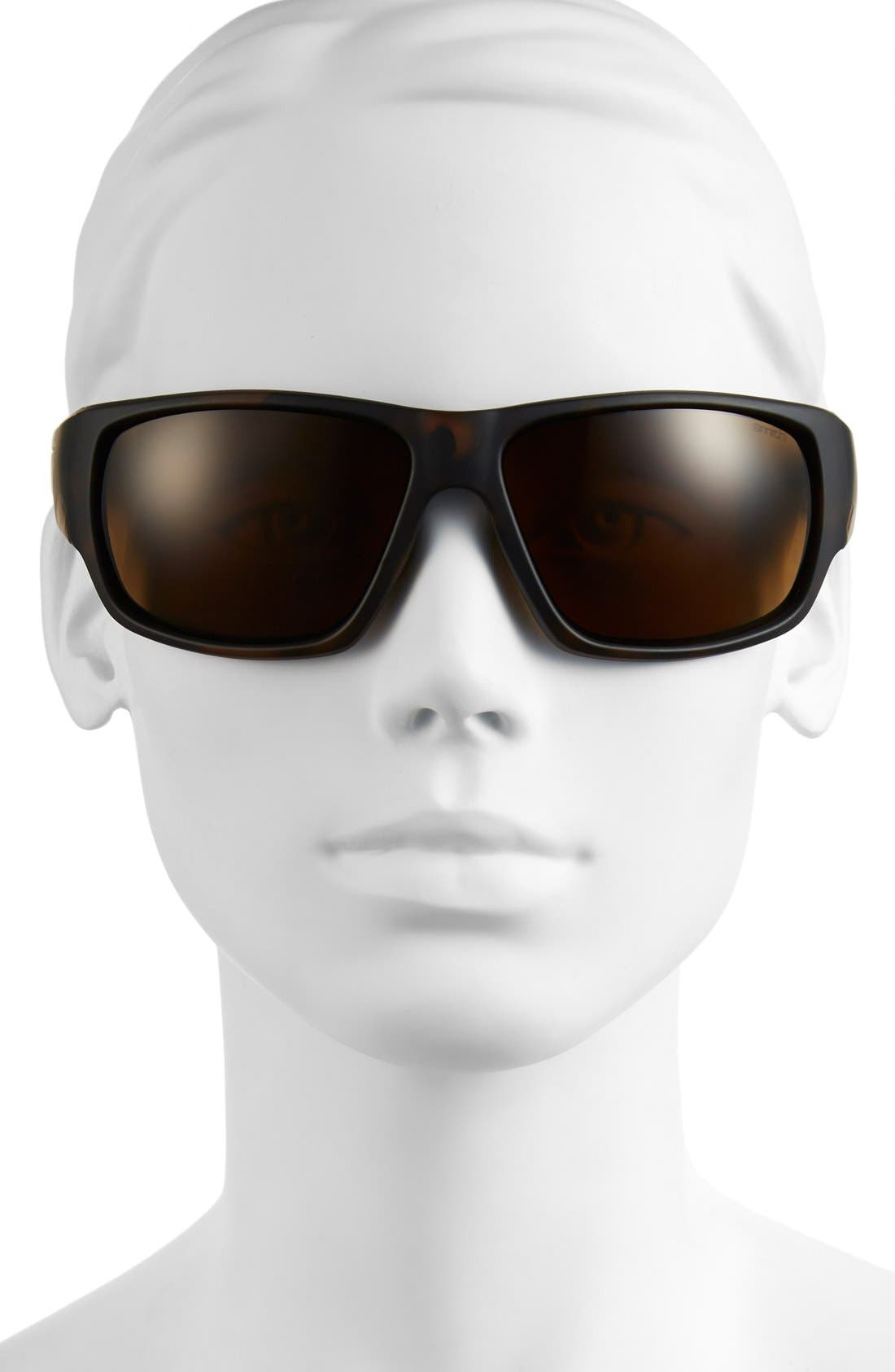 'Dragstrip' 64mm Polarized Sunglasses,                             Alternate thumbnail 2, color,                             MATTE TORTOISE/ POLAR BROWN