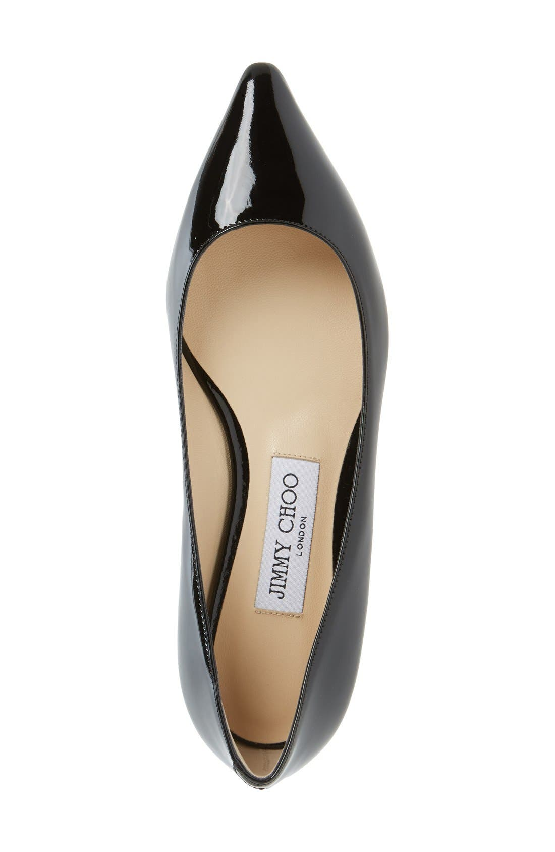JIMMY CHOO,                             'Romy' Pointy Toe Flat,                             Alternate thumbnail 3, color,                             004
