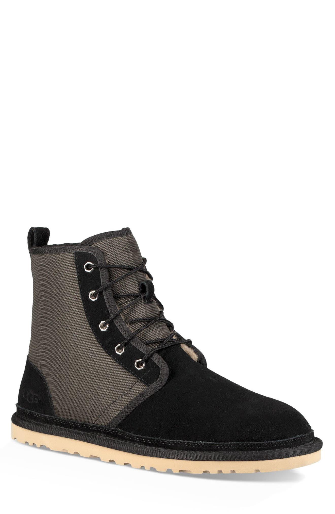 Harkley Lace-Up Boot,                             Main thumbnail 1, color,                             BLACK SUEDE