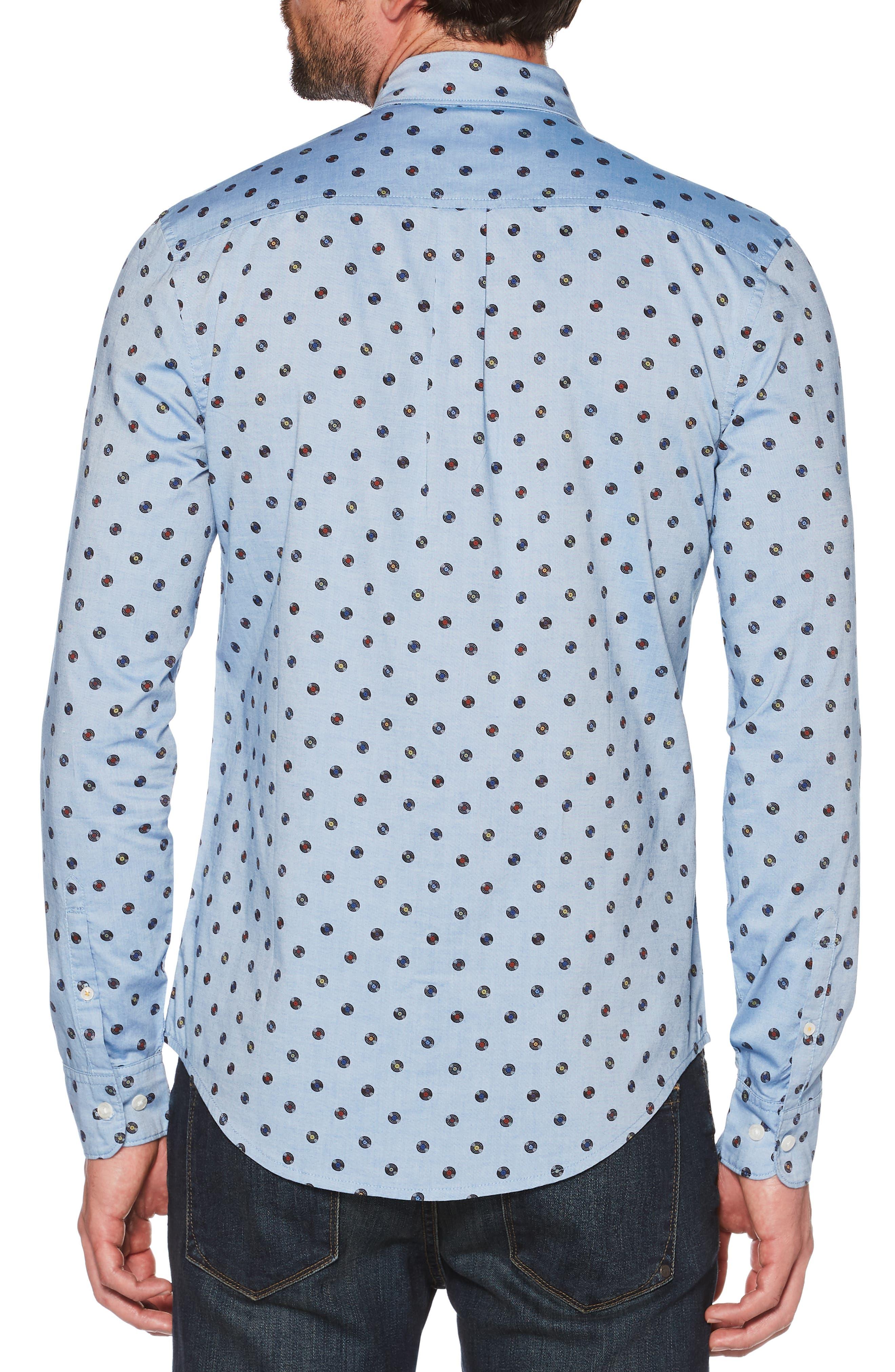 Records Print Sport Shirt,                             Alternate thumbnail 2, color,                             CLASSIC BLUE