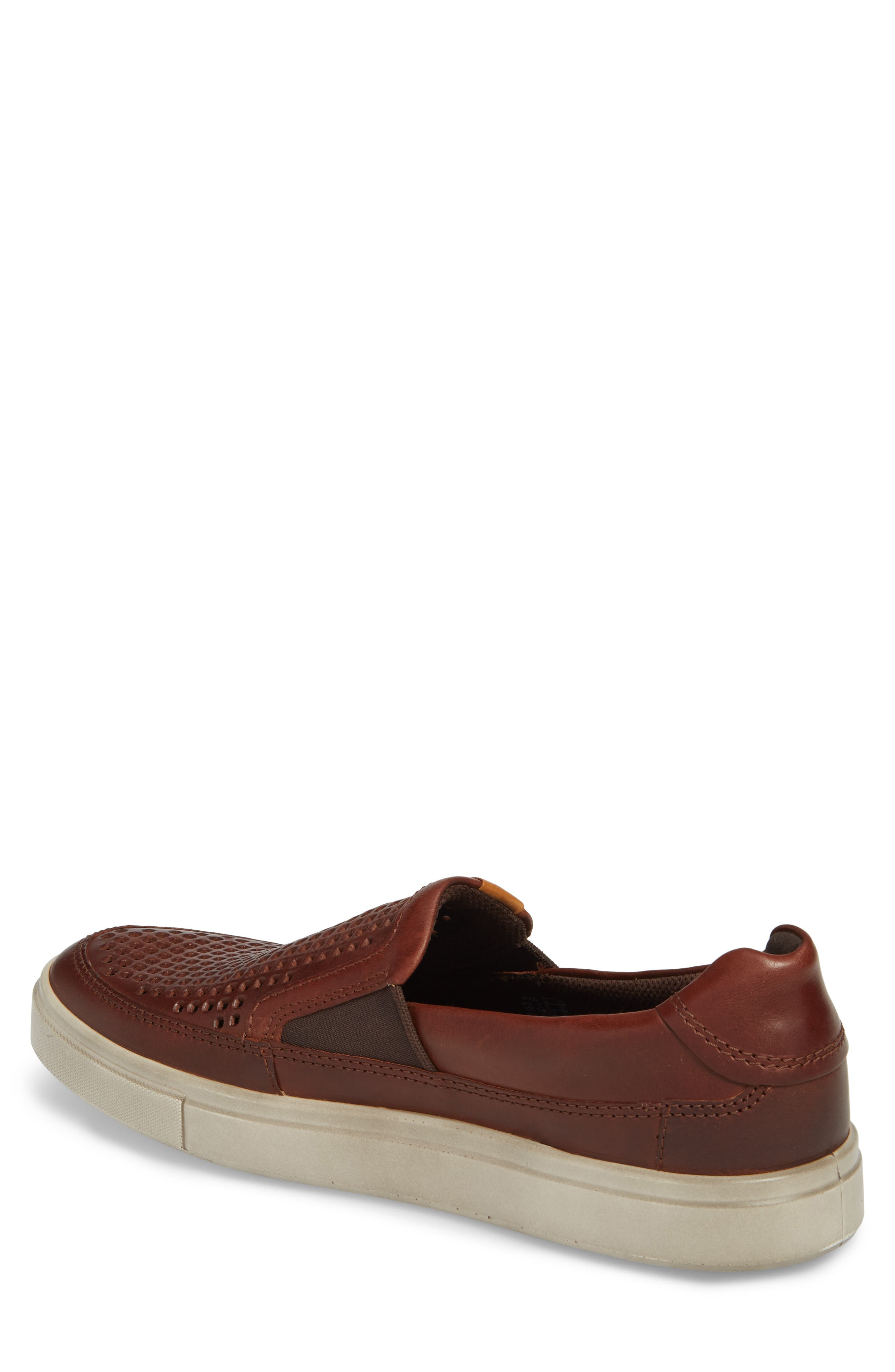 Kyle Perforated Slip-On Sneaker,                             Alternate thumbnail 2, color,                             COGNAC LEATHER