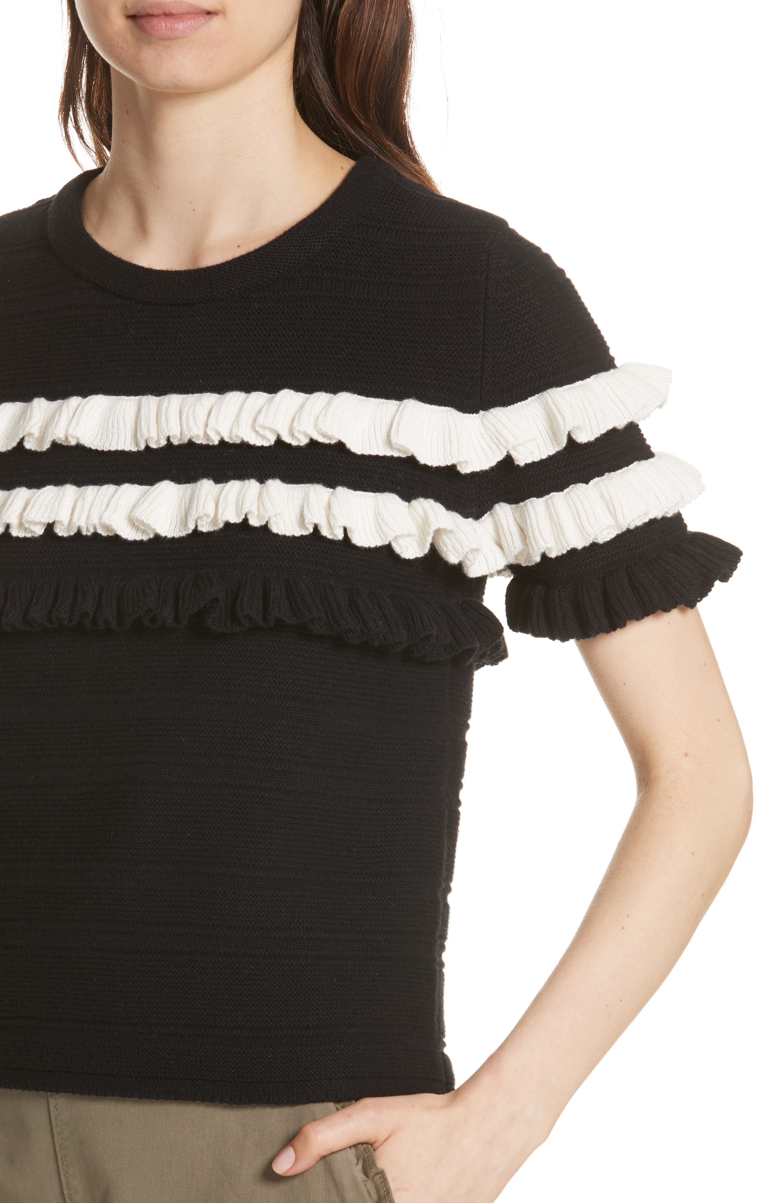 ruffled cotton & cashmere sweater,                             Alternate thumbnail 7, color,