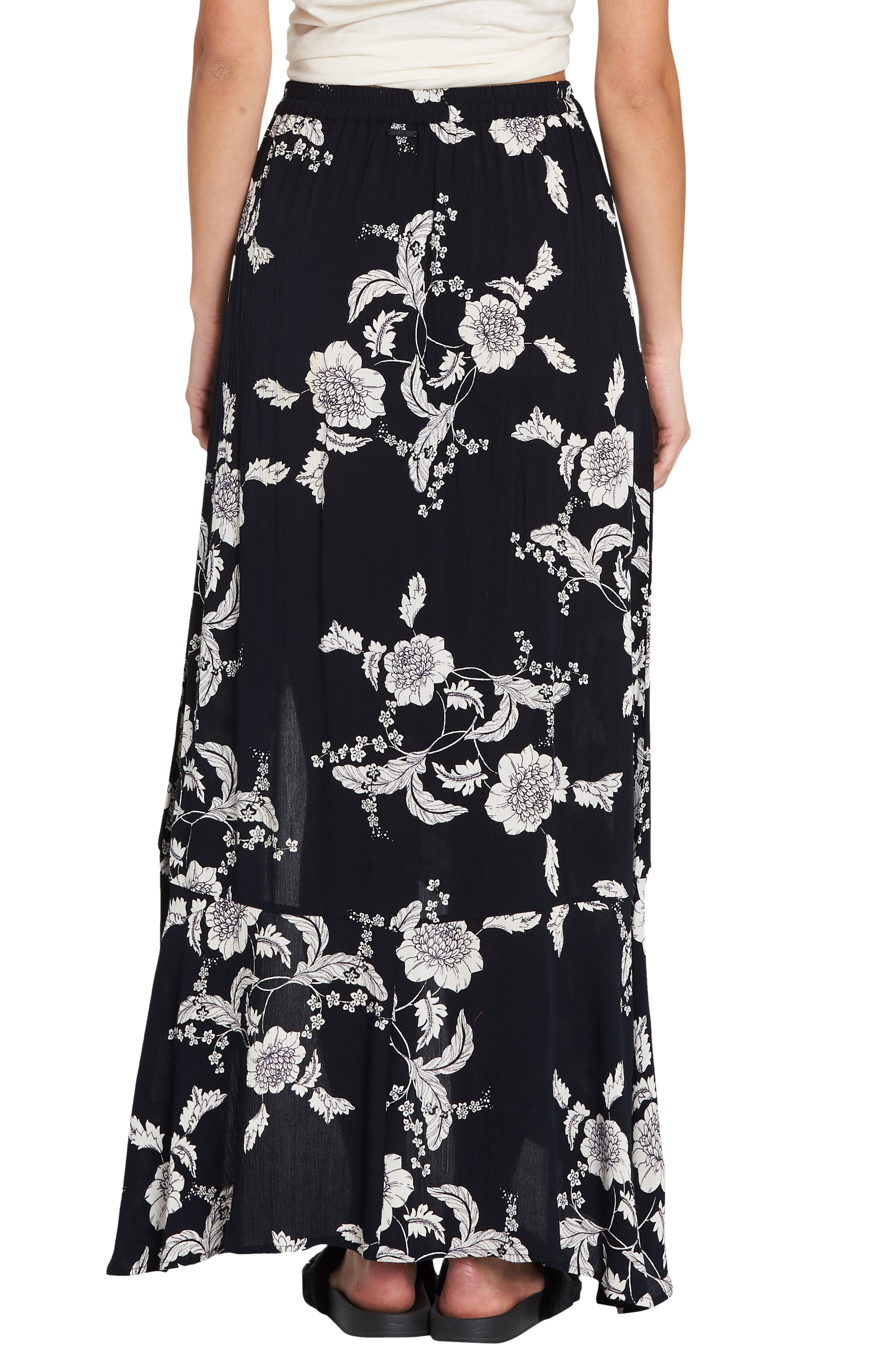 Kick Twist Floral Maxi Dress,                             Alternate thumbnail 2, color,                             BLACK