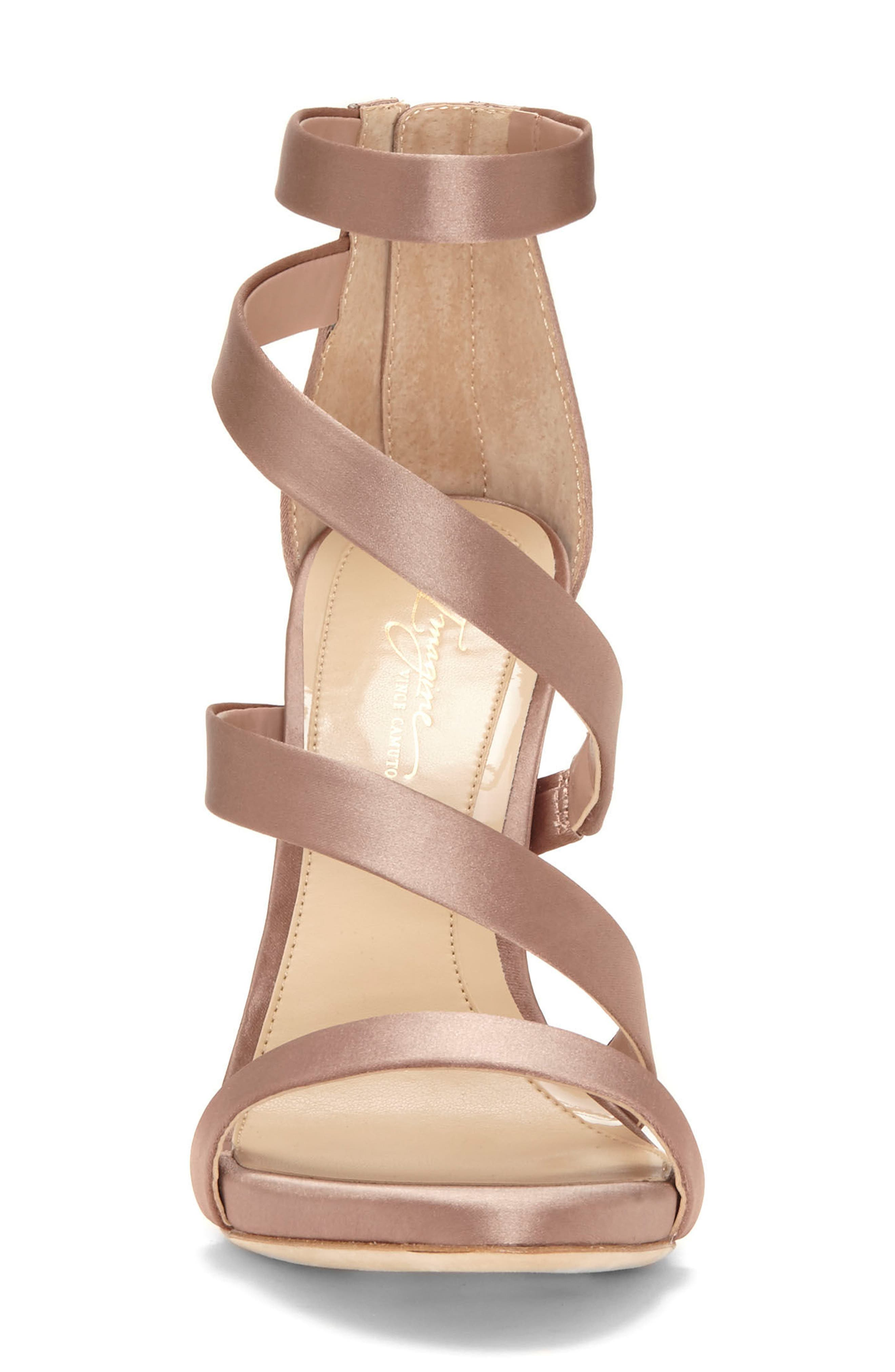 Imagine Vince Camuto Dalles Tall Strappy Sandal,                             Alternate thumbnail 4, color,                             WARM TAUPE SATIN