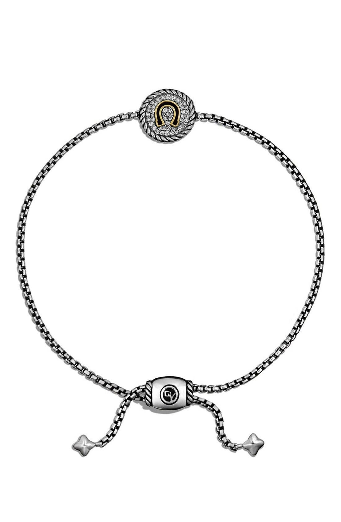 'Cable Collectibles' Horseshoe Station Bracelet with Diamonds,                             Alternate thumbnail 2, color,                             040