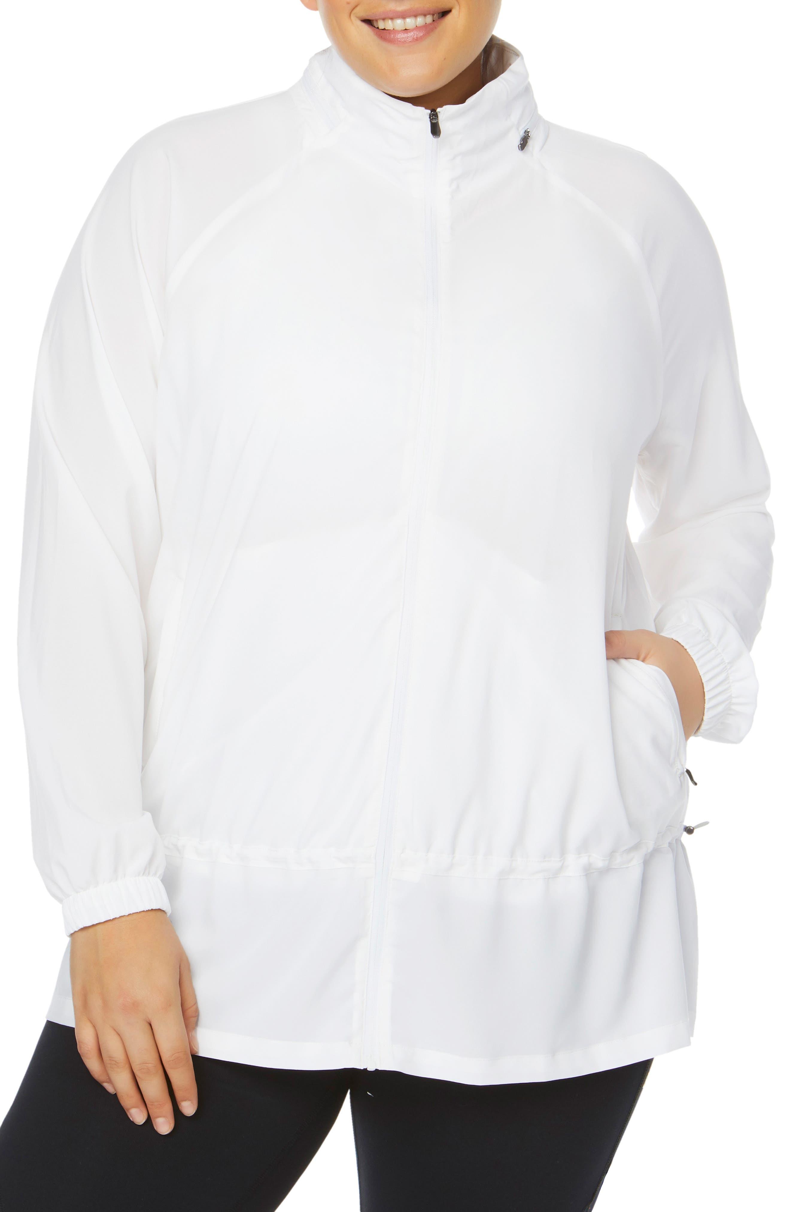 Plus Size Shape Activewear Ghost Windbreaker Jacket, White