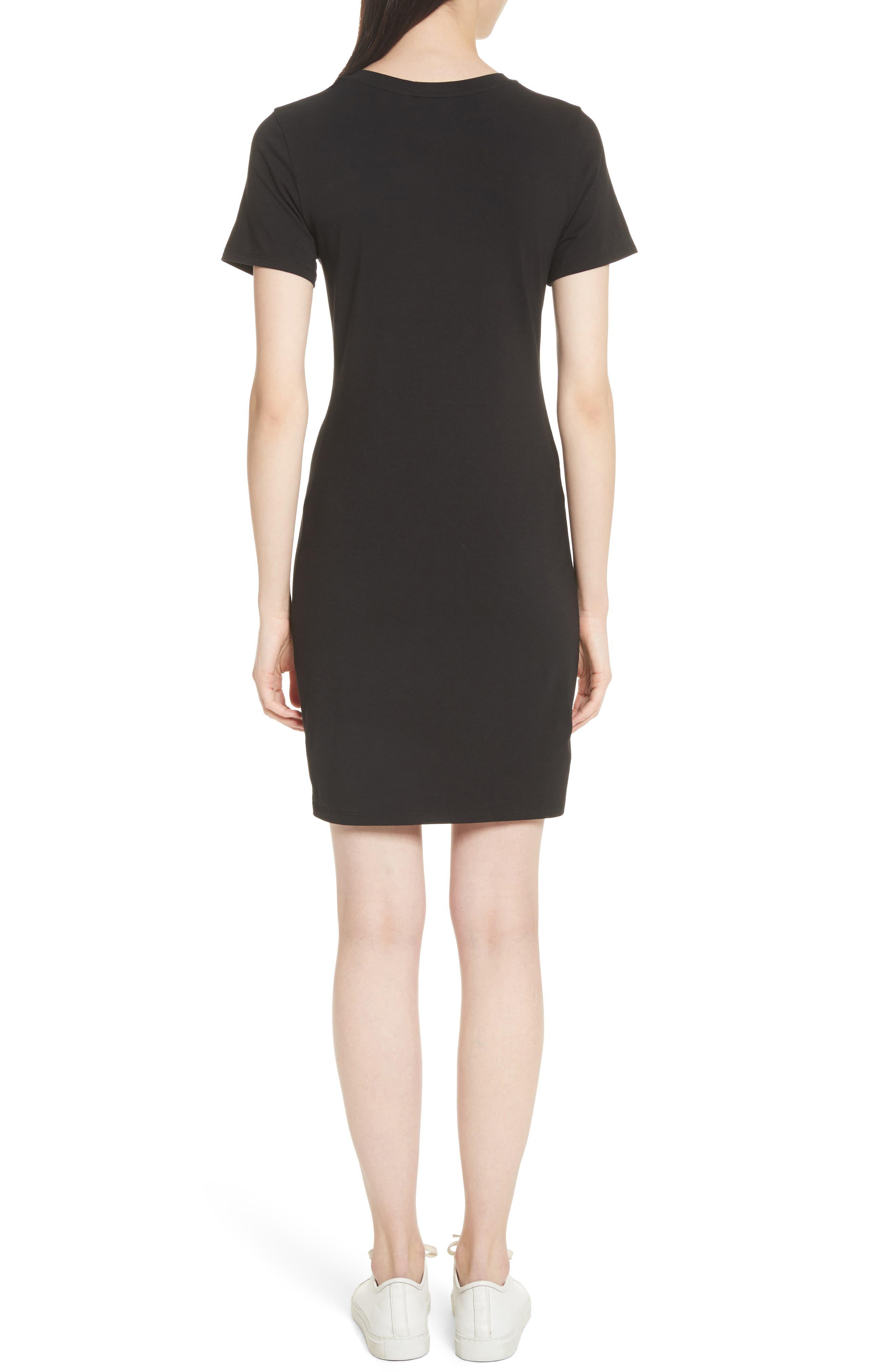 Rubri Knotted T-Shirt Dress,                             Alternate thumbnail 2, color,                             BLACK MULTI