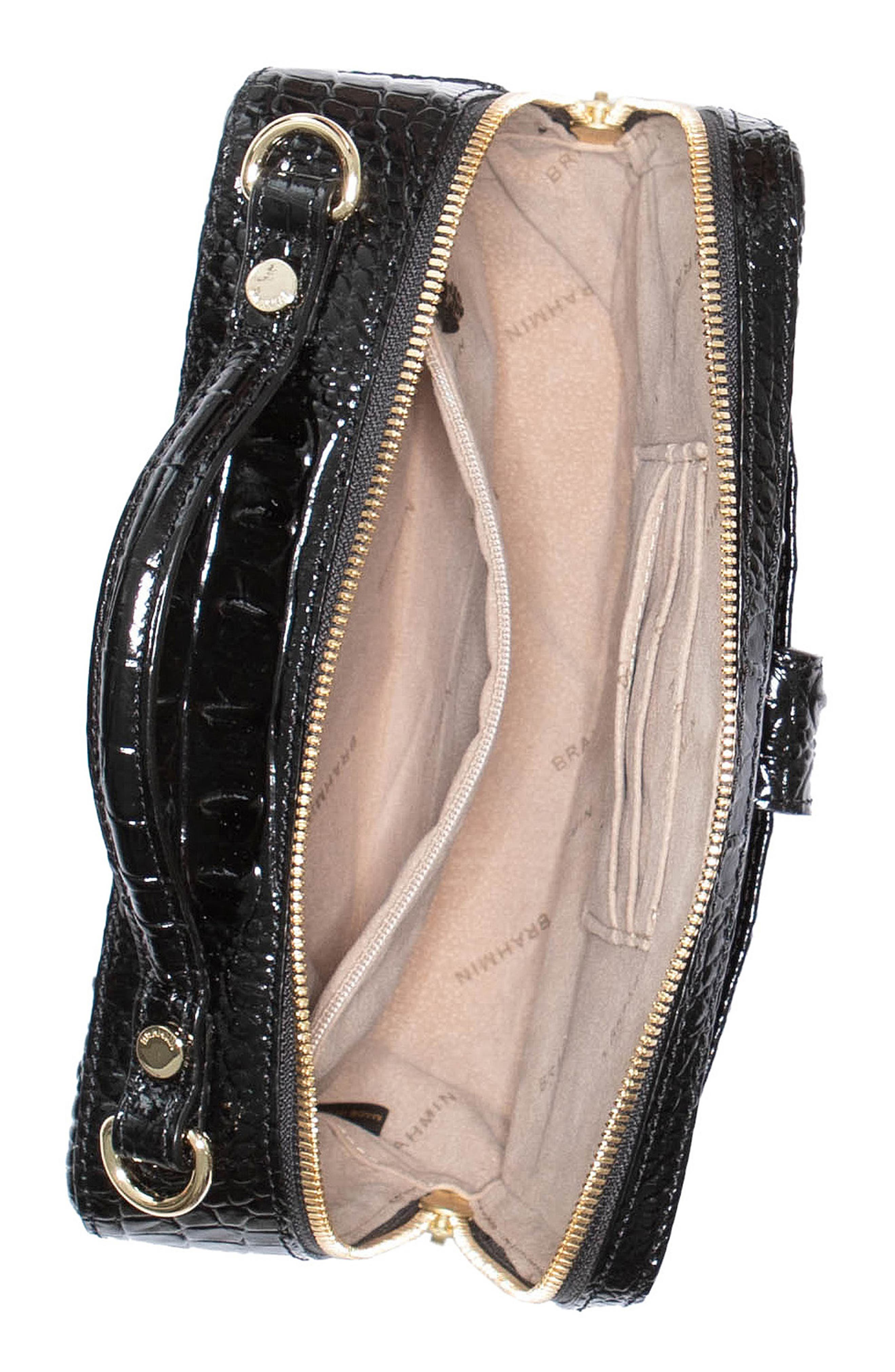 Evie Croc Embossed Leather Top Handle Bag,                             Alternate thumbnail 3, color,                             BLACK MEMBOURNE