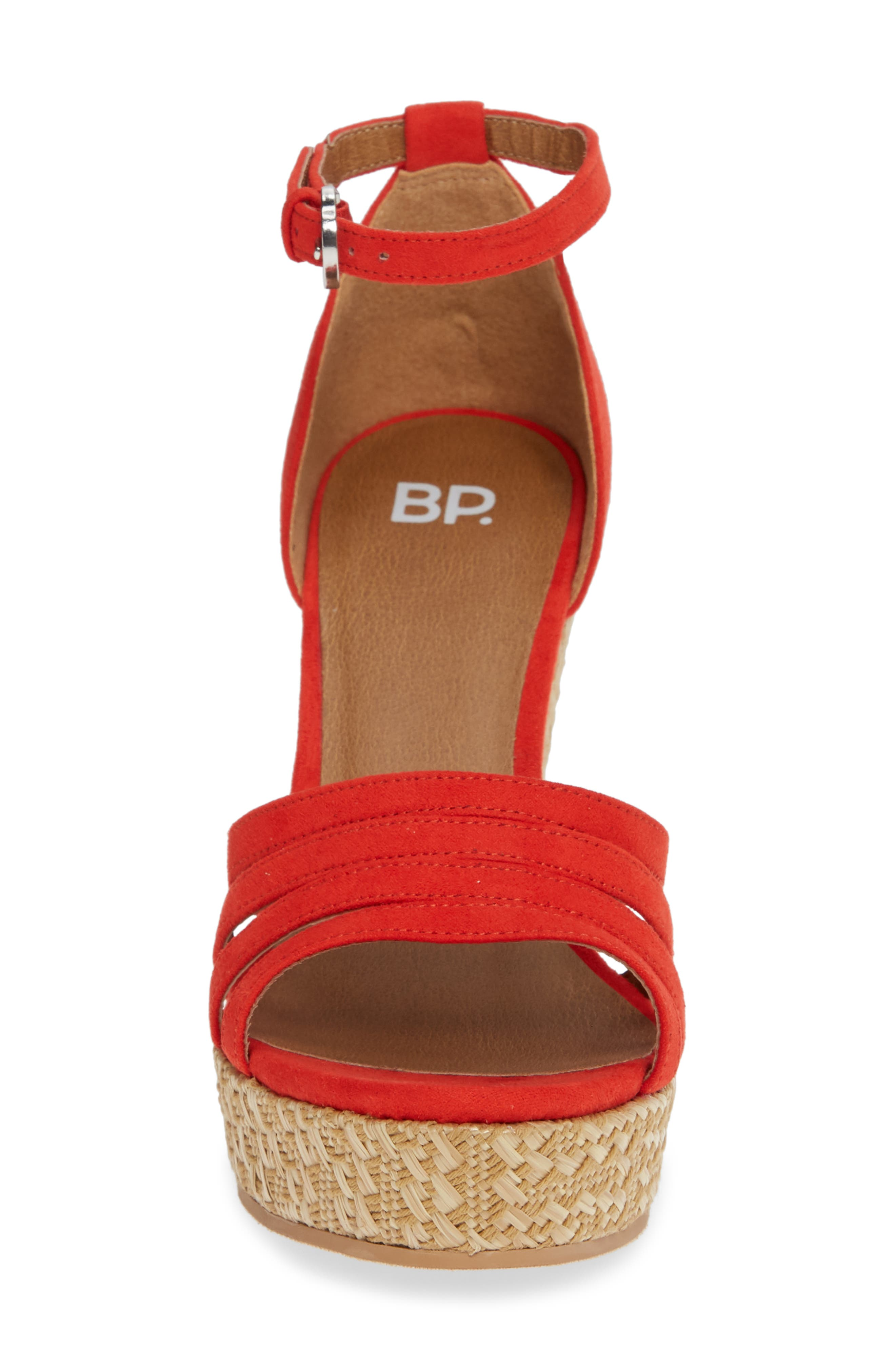Scarlette Wedge Sandal,                             Alternate thumbnail 4, color,                             RED FAUX SUEDE