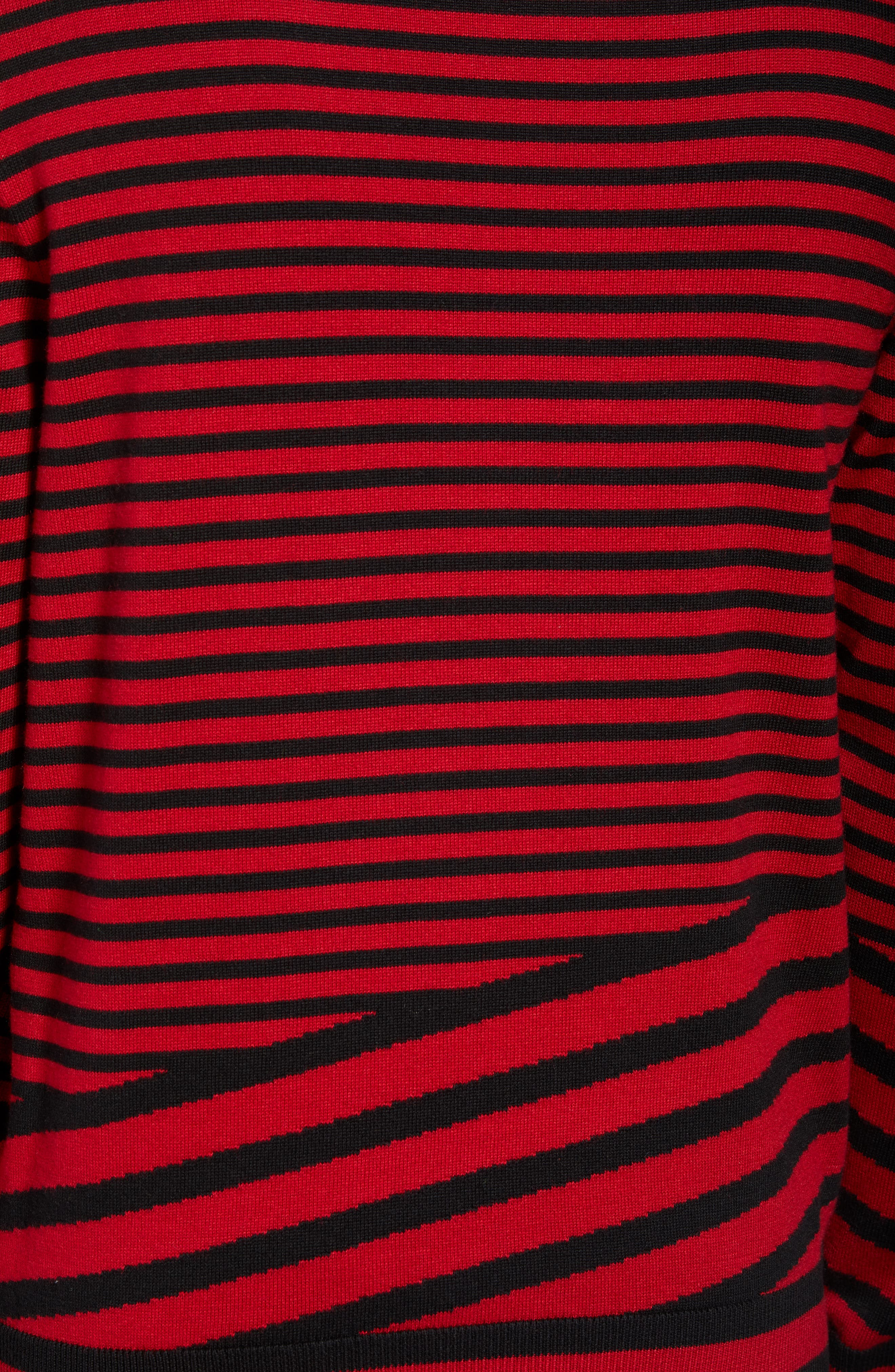 Asymmetrical Stripe Longline Sweater,                             Alternate thumbnail 5, color,                             RED BLACK RETRO STRIPE