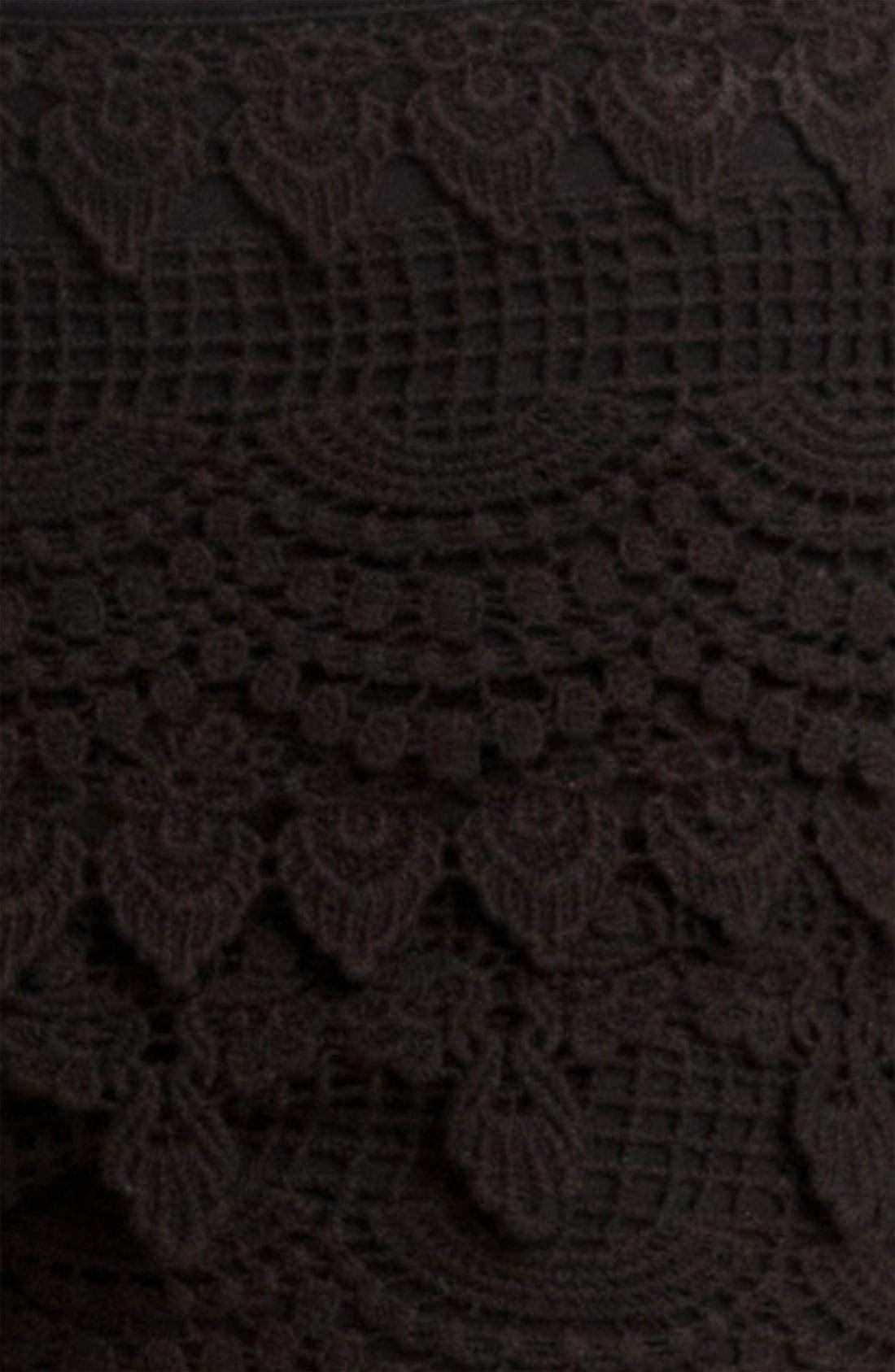 Lush Tiered Crochet Shorts,                             Alternate thumbnail 3, color,                             001