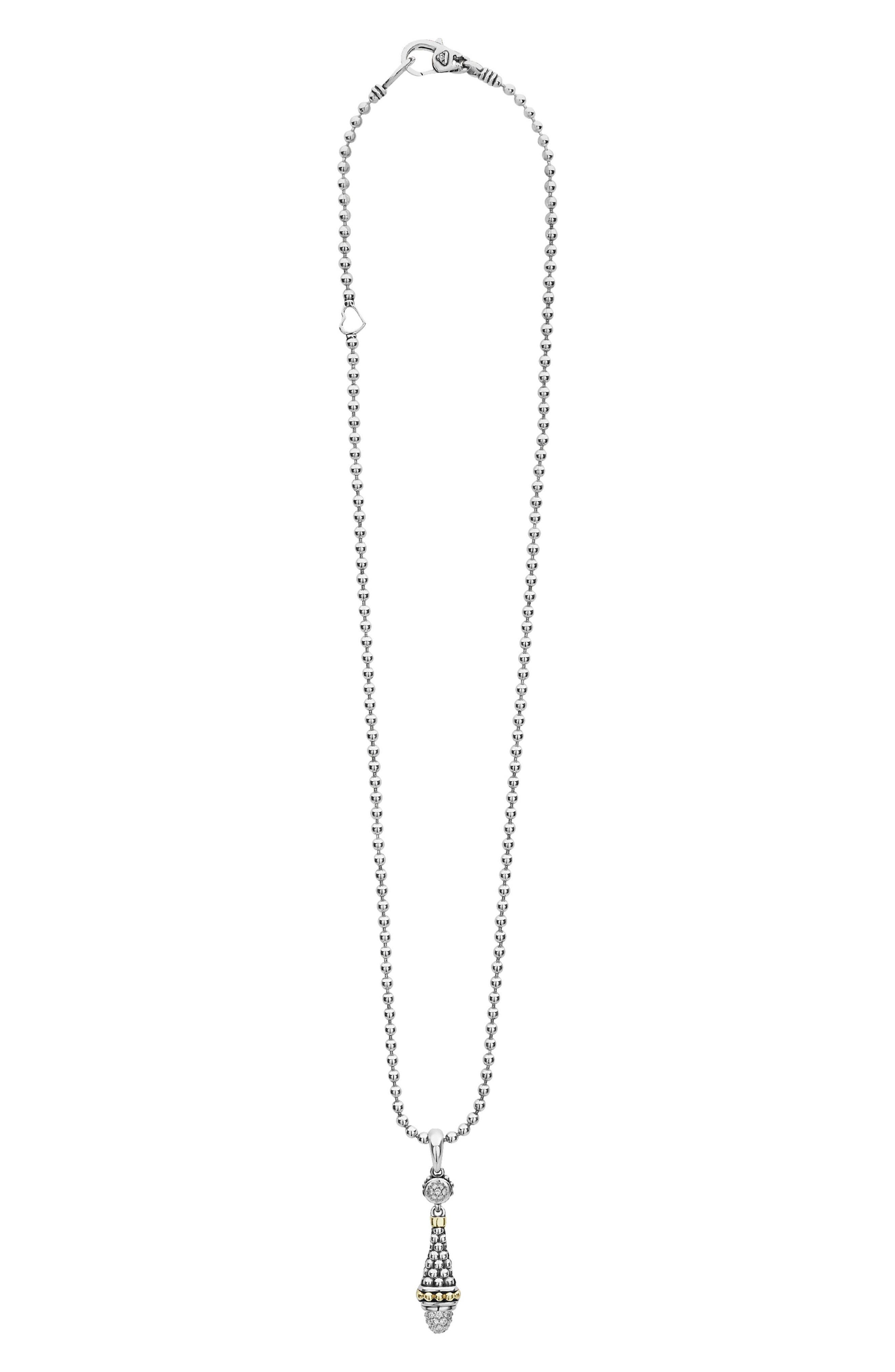 Signature Caviar Diamond Pendant Necklace, Main, color, SILVER/ DIAMOND
