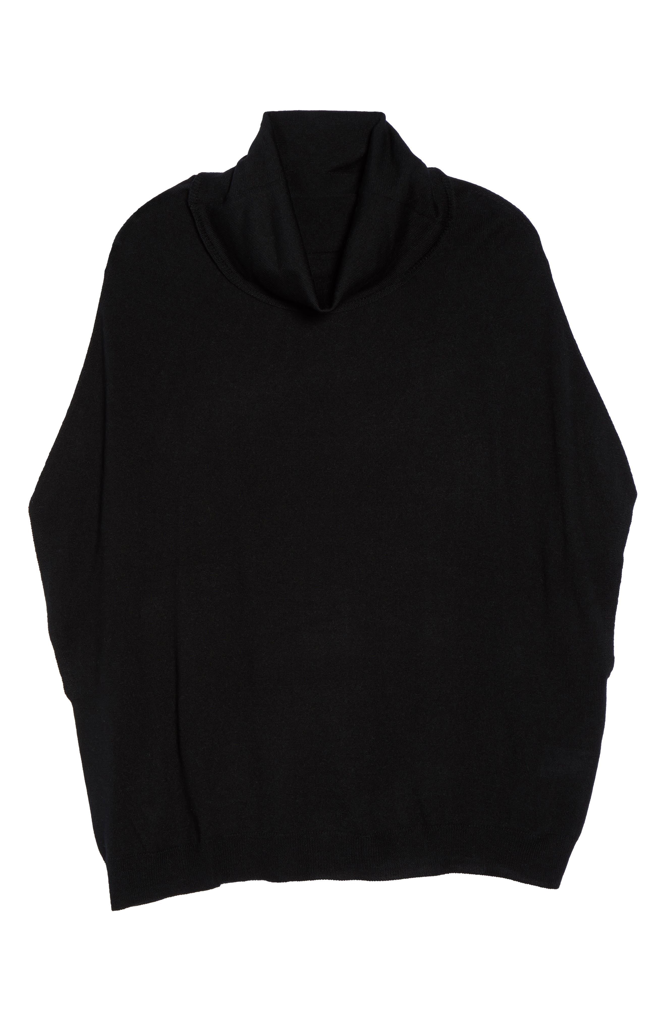 Merino Wool Blend Turtleneck Sweater,                             Alternate thumbnail 6, color,                             001