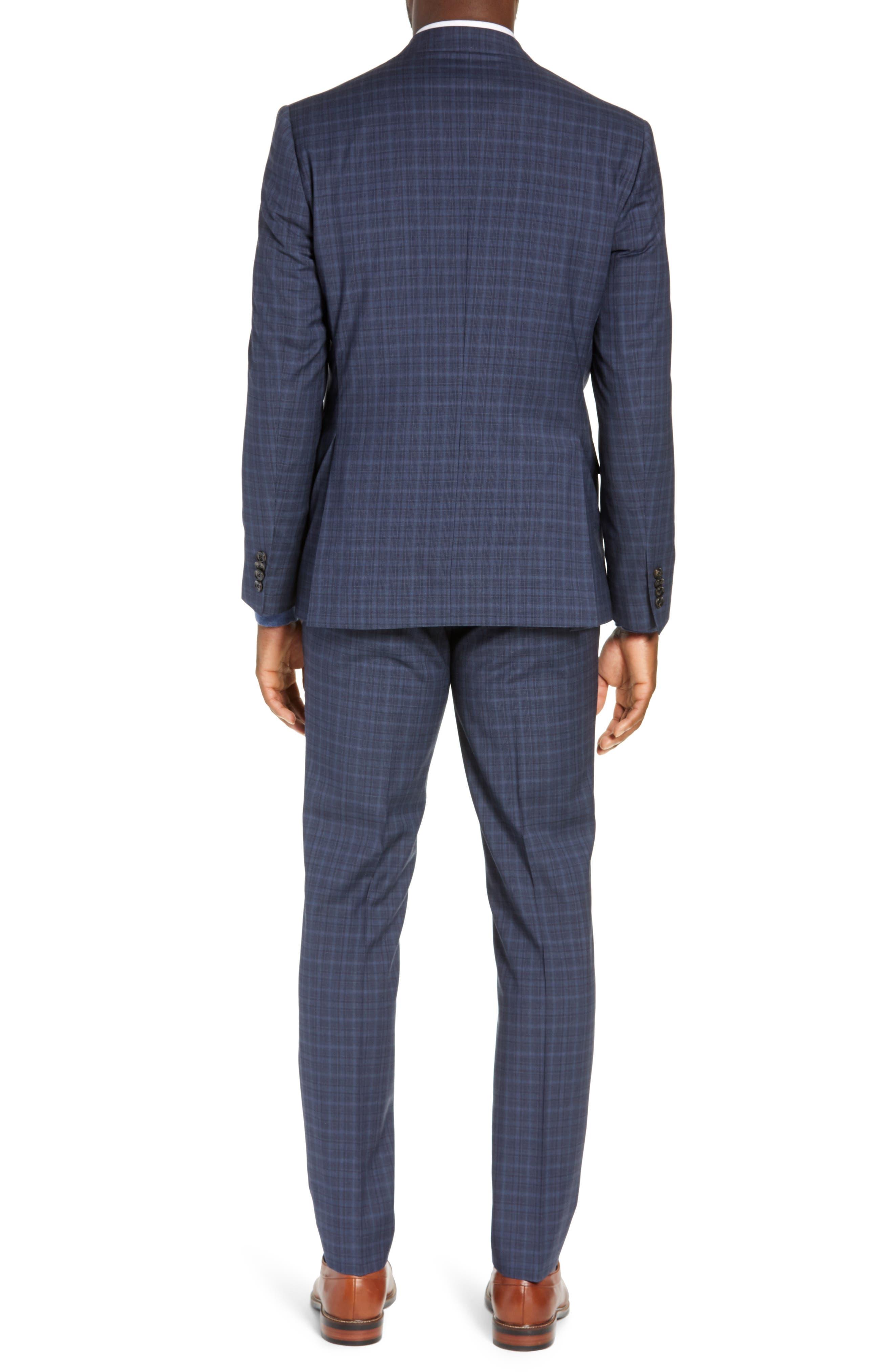 TED BAKER LONDON,                             Roger Slim Fit Plaid Wool Suit,                             Alternate thumbnail 2, color,                             GREY