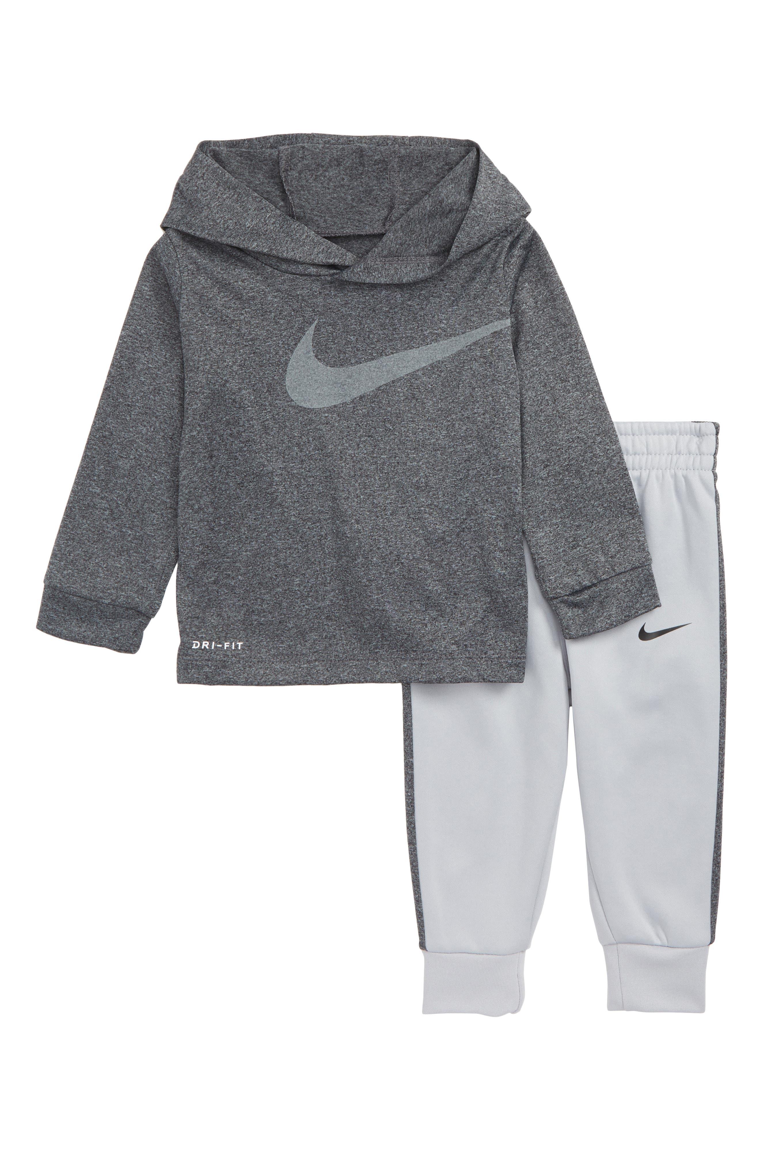 Swoosh Hoodie & Sweatpants Set,                         Main,                         color, WOLF GREY