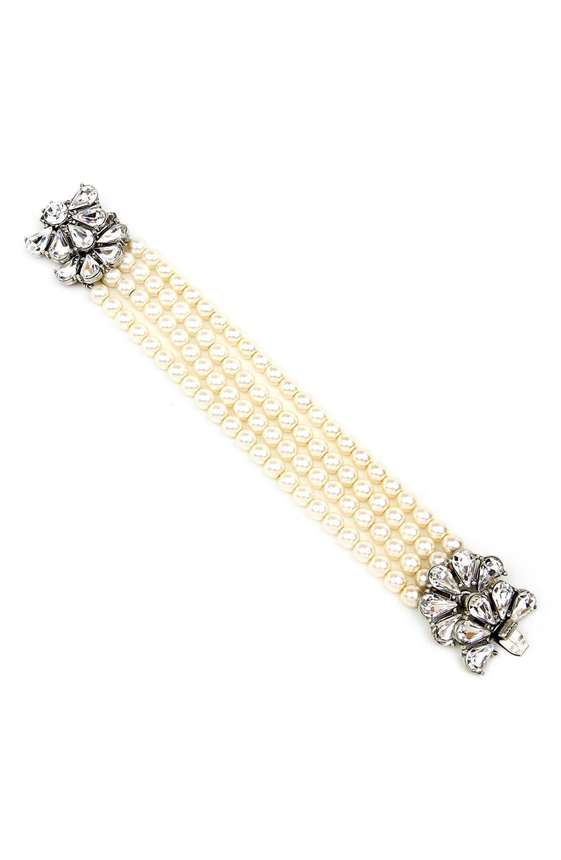 Crystal & Faux Pearl Strand Bracelet,                             Main thumbnail 1, color,                             900