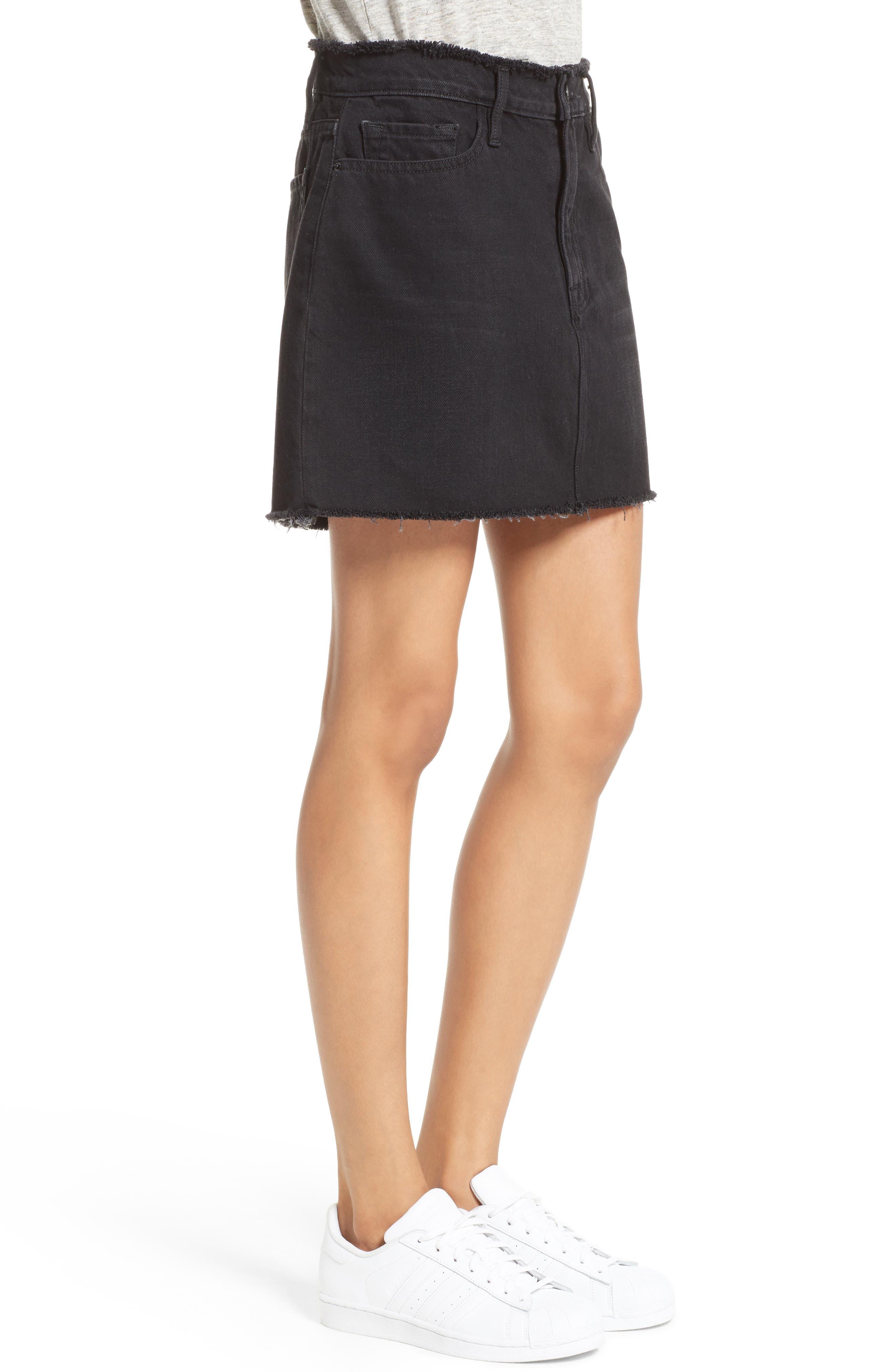Le Mini Denim Skirt,                             Alternate thumbnail 3, color,                             001