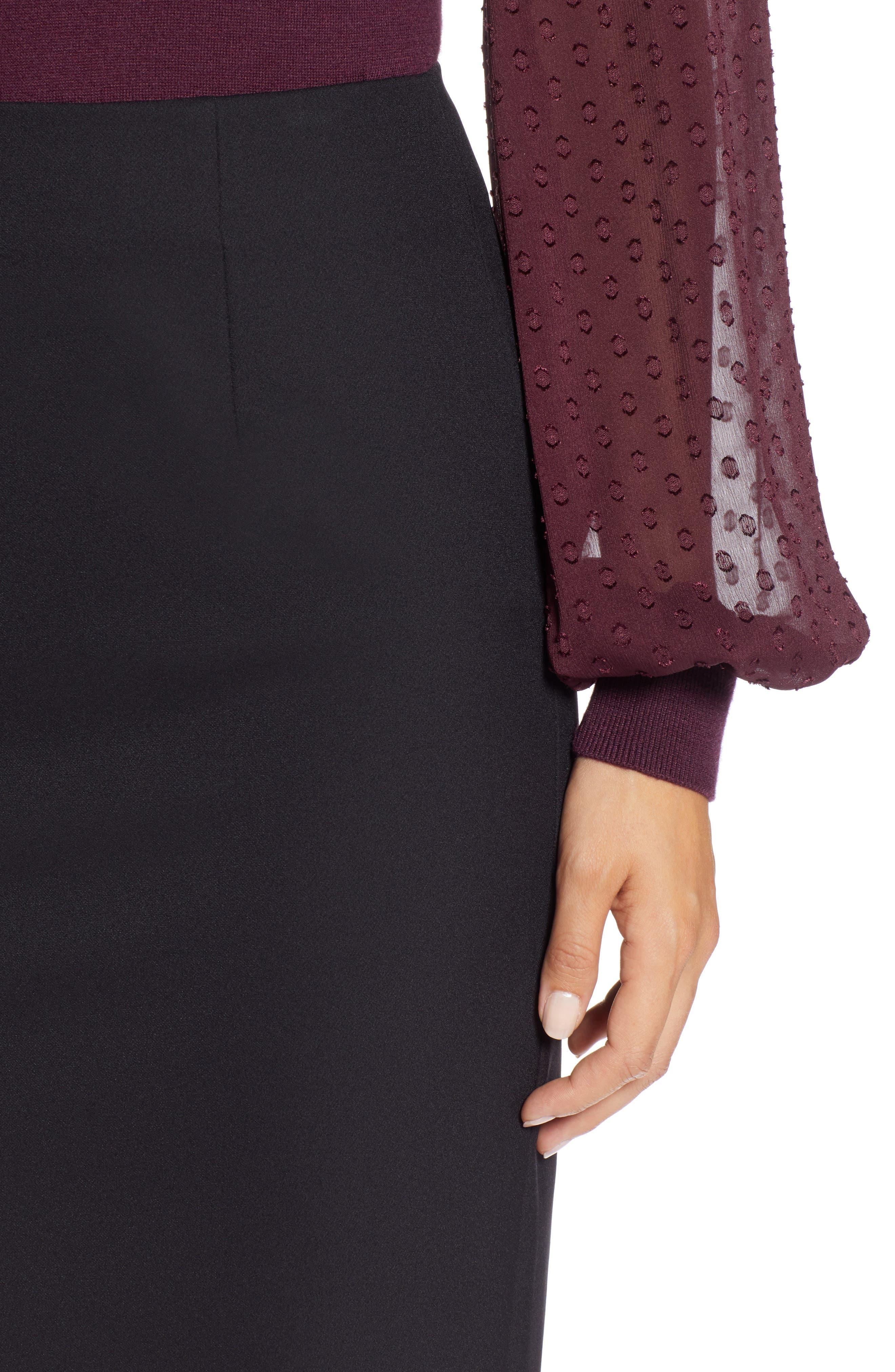 Pencil Skirt,                             Alternate thumbnail 5, color,                             BLACK