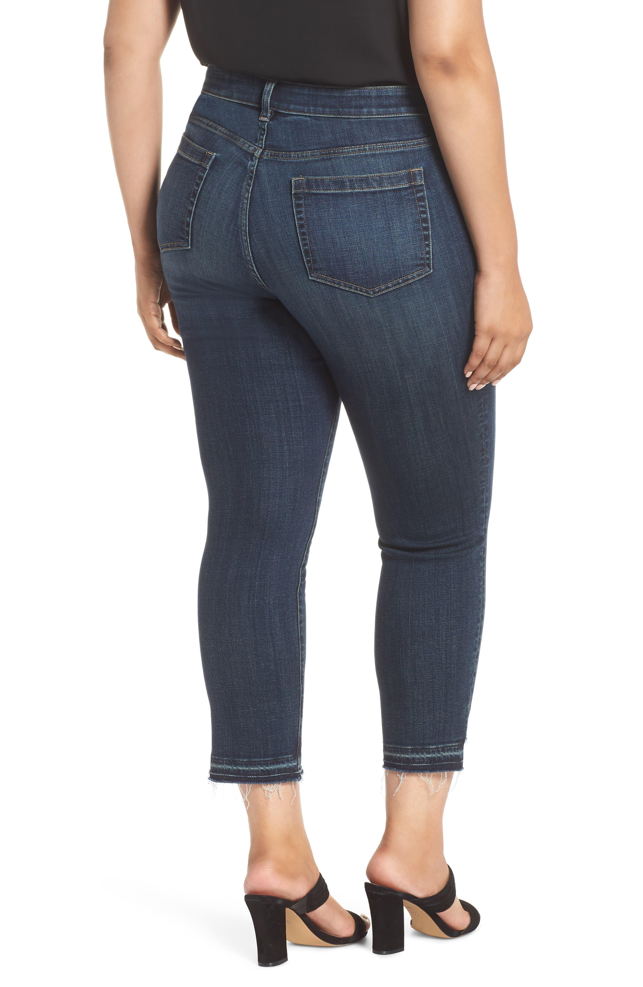 Indigo Curve Hem Skinny Jeans,                             Alternate thumbnail 2, color,                             DARK AUTHENTIC