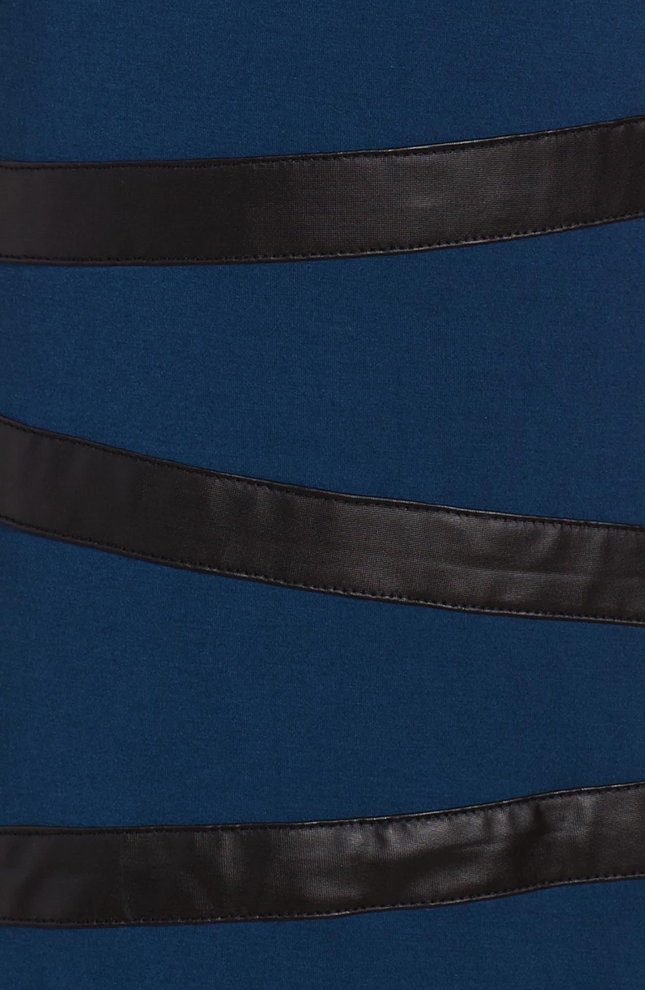 Faux Leather Trim Dress,                             Alternate thumbnail 3, color,                             410