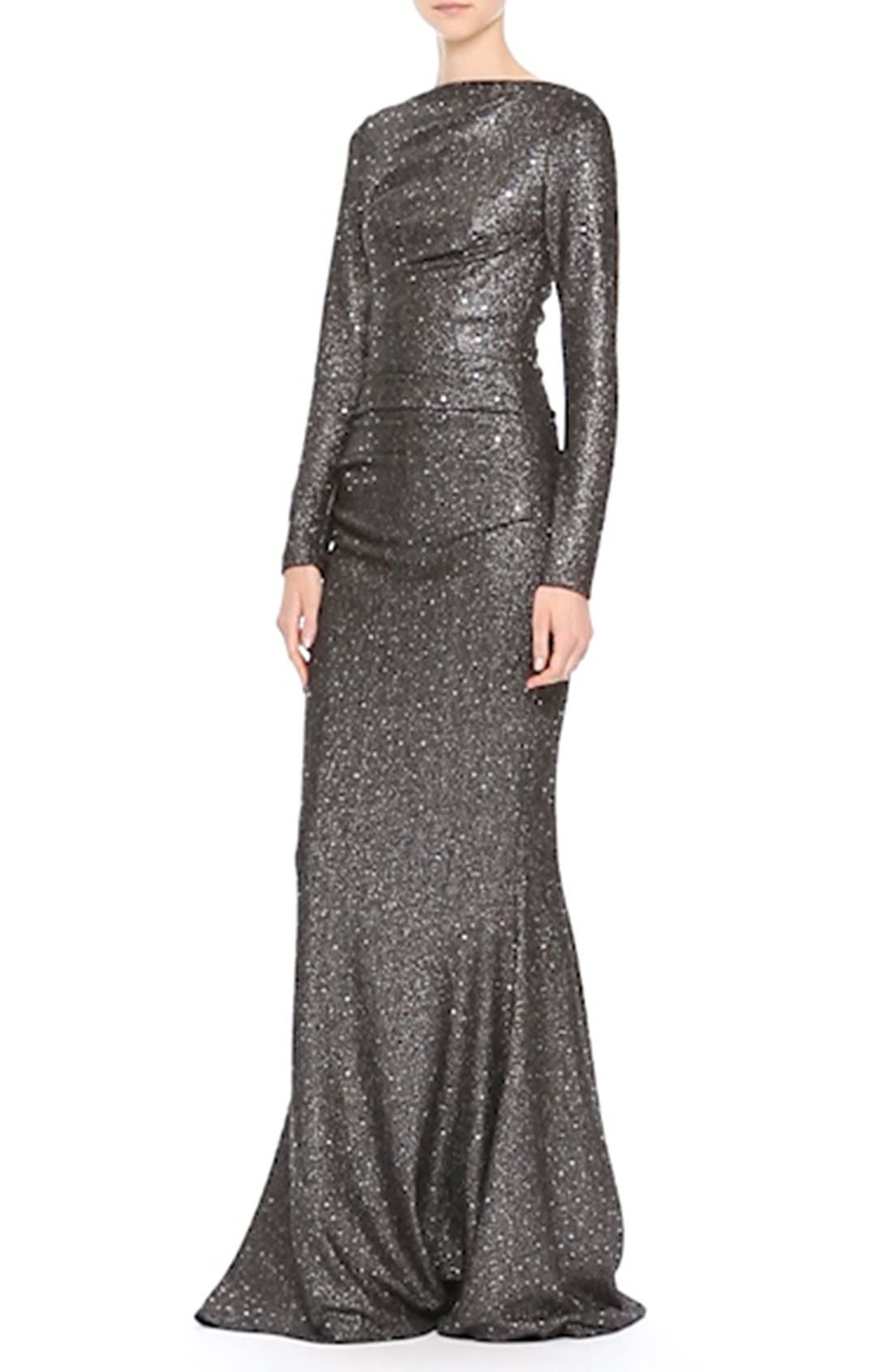 Sequin Glitter Jersey Ruched Gown,                             Alternate thumbnail 2, color,