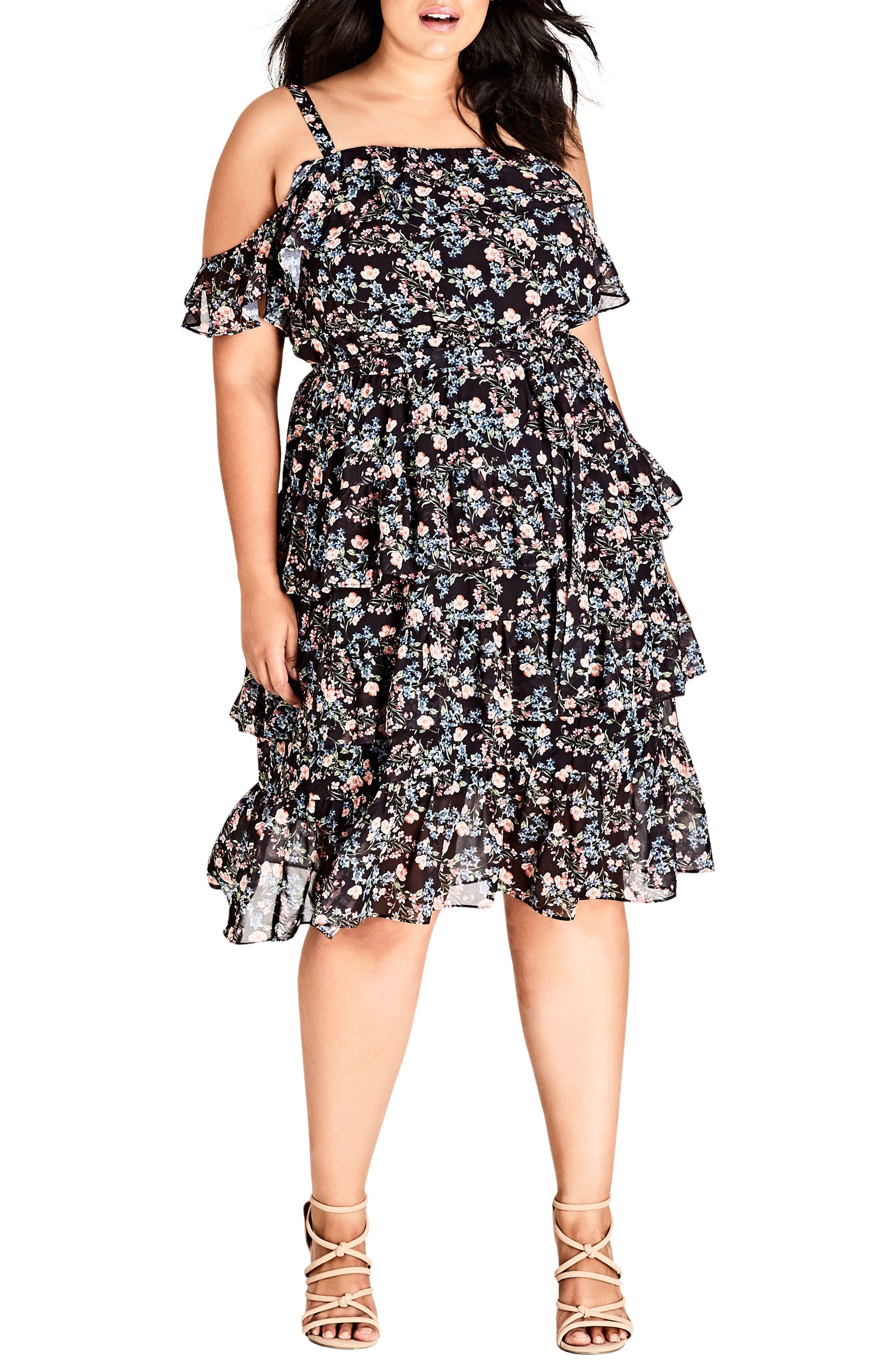 Plus Size City Chic Cold Shoulder Ruffle Dress, Black