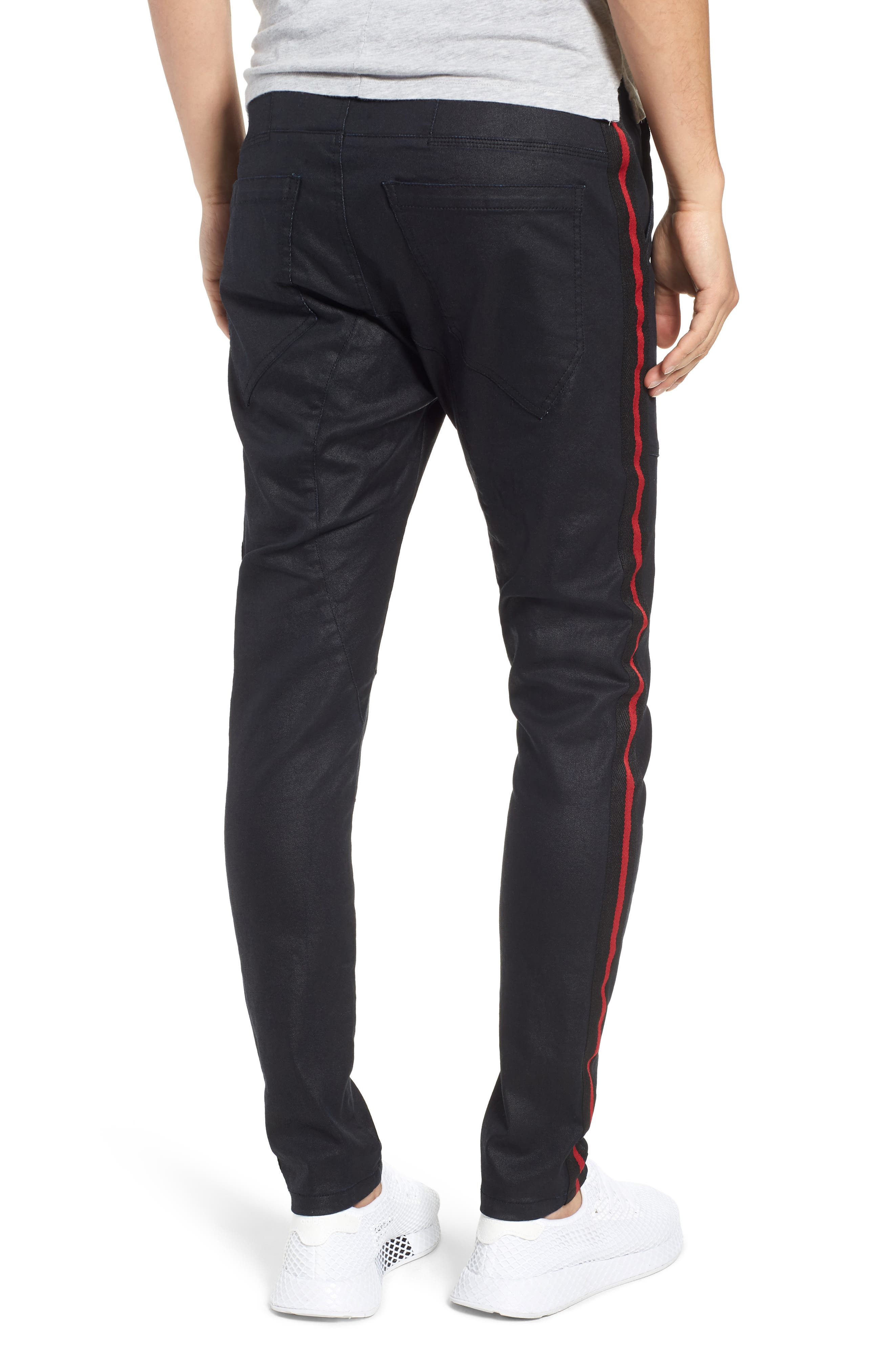 Baseline Taped Skinny Fit Jeans,                             Alternate thumbnail 2, color,                             WAX BLACK RED STRIPE
