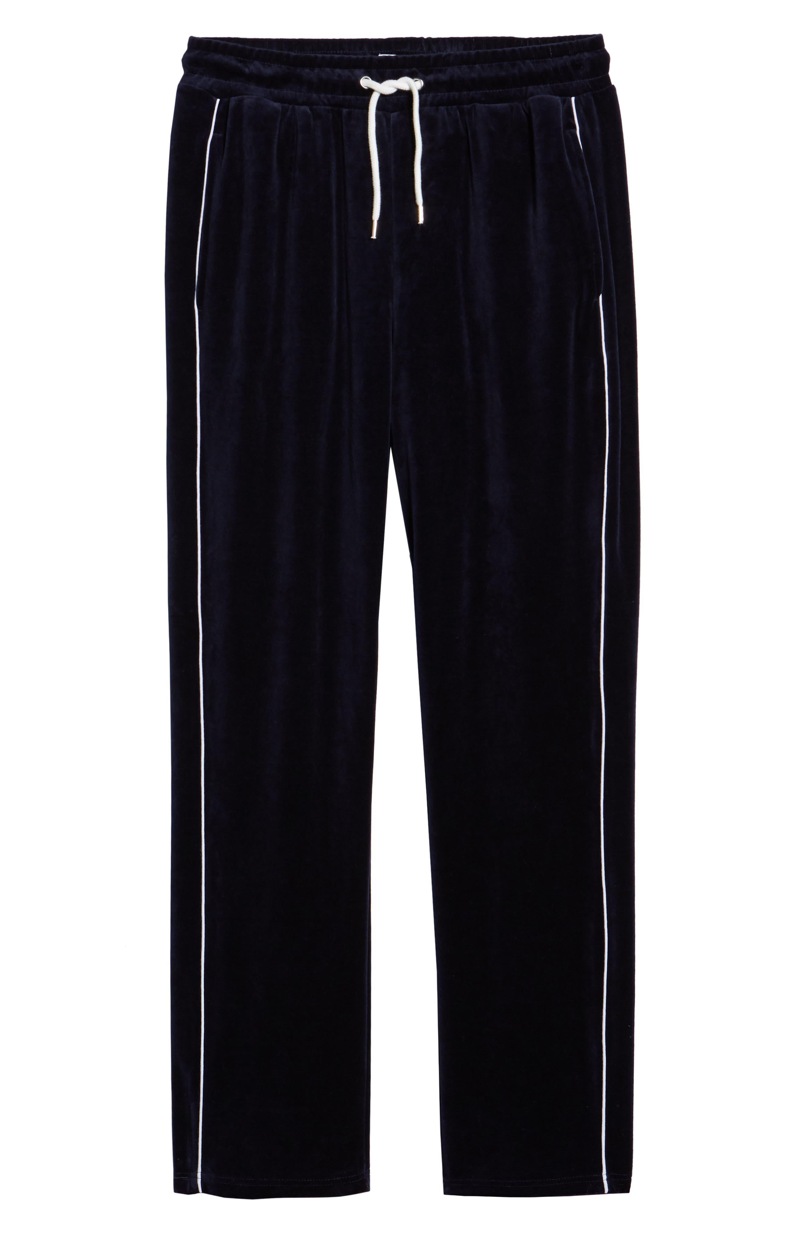 Velour Pants,                             Alternate thumbnail 6, color,                             NAVY BLUE