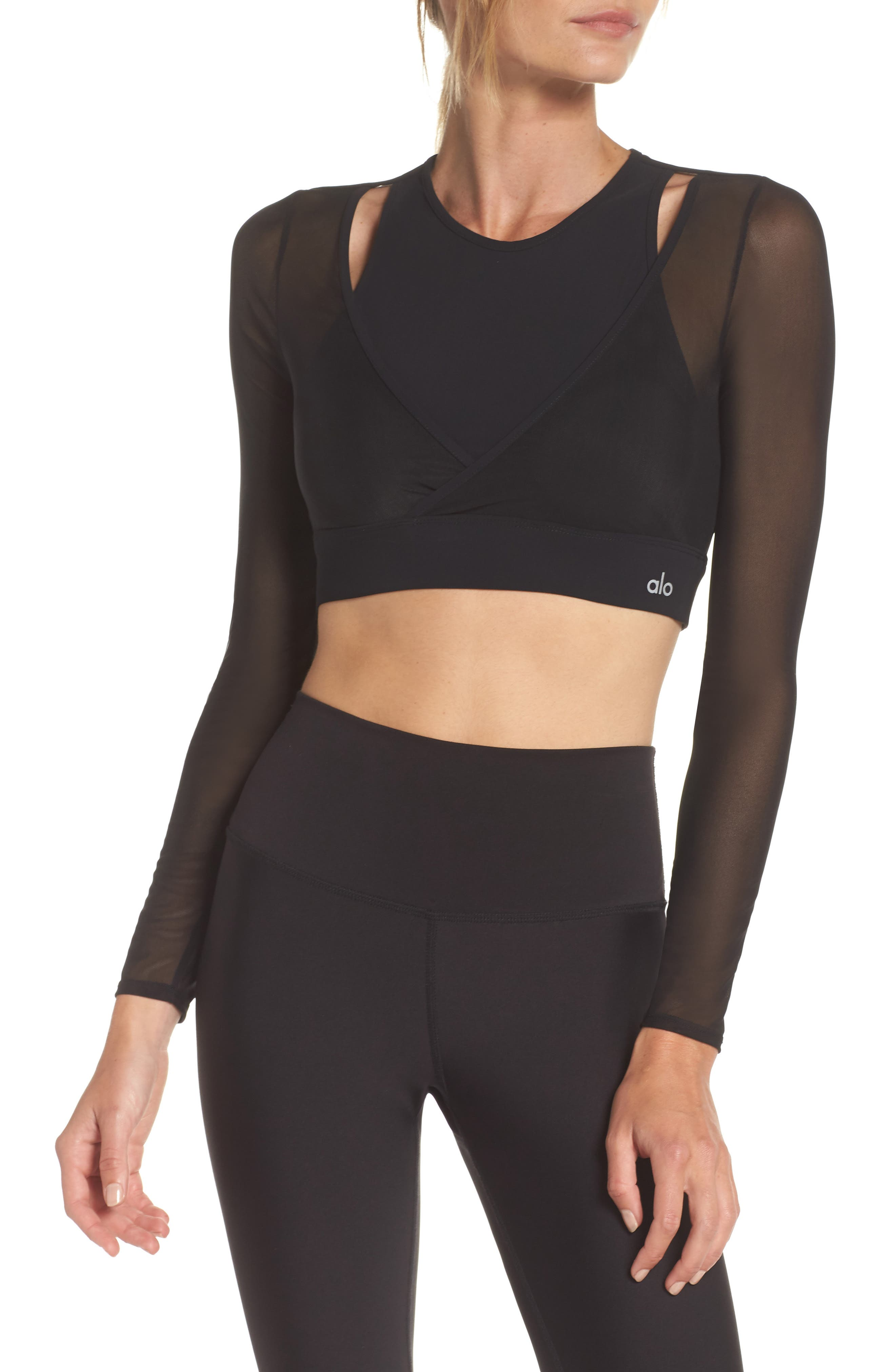 Pivot Layered Look Crop Top,                             Main thumbnail 1, color,                             BLACK