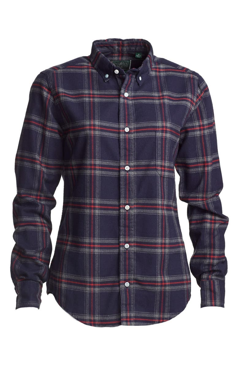 Gitman Indigo Plaid Tapered Fit Flannel Shirt Women Nordstrom