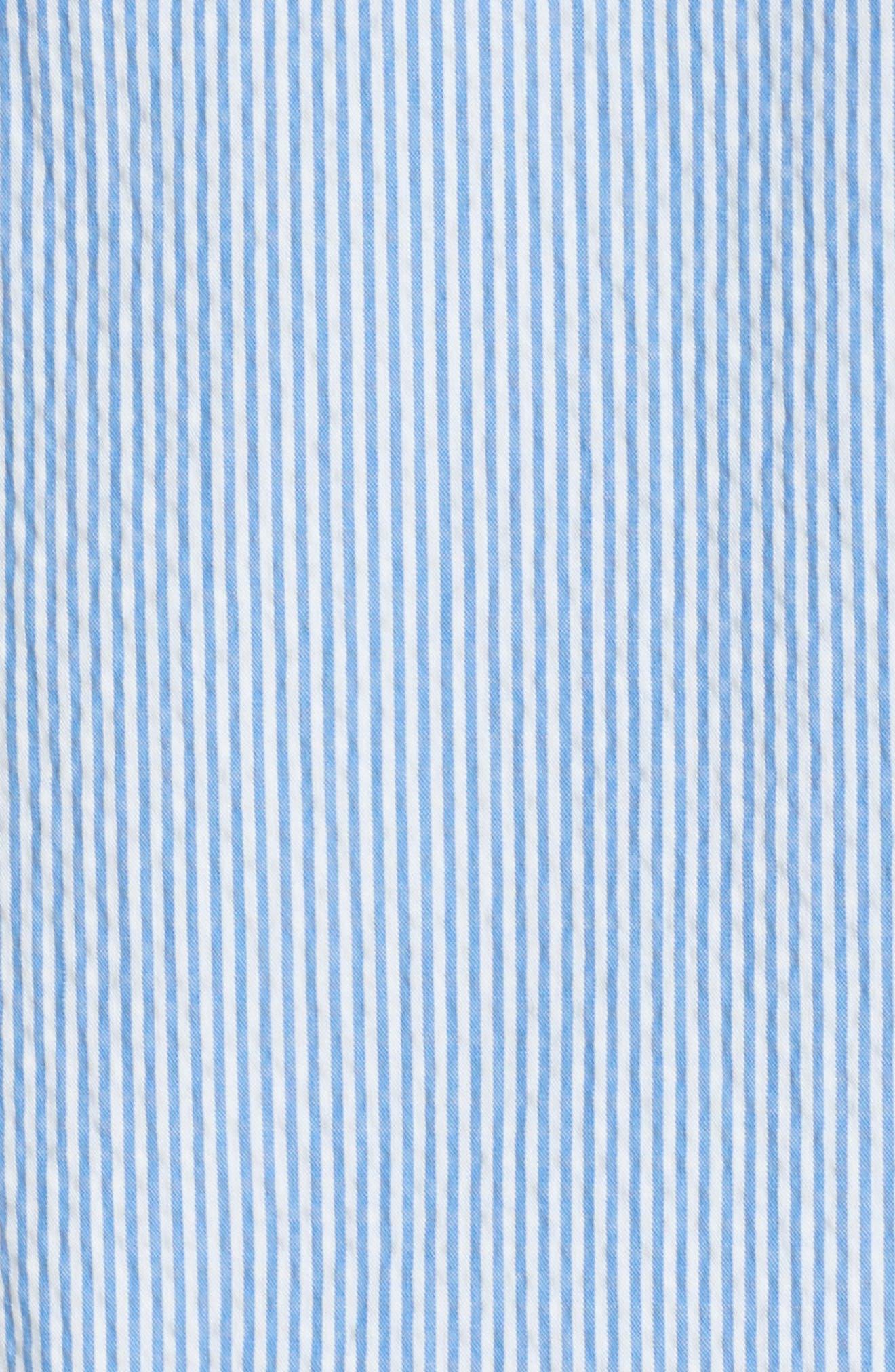 Mandarin Collar Contrast Trim Seersucker Shift Dress,                             Alternate thumbnail 5, color,