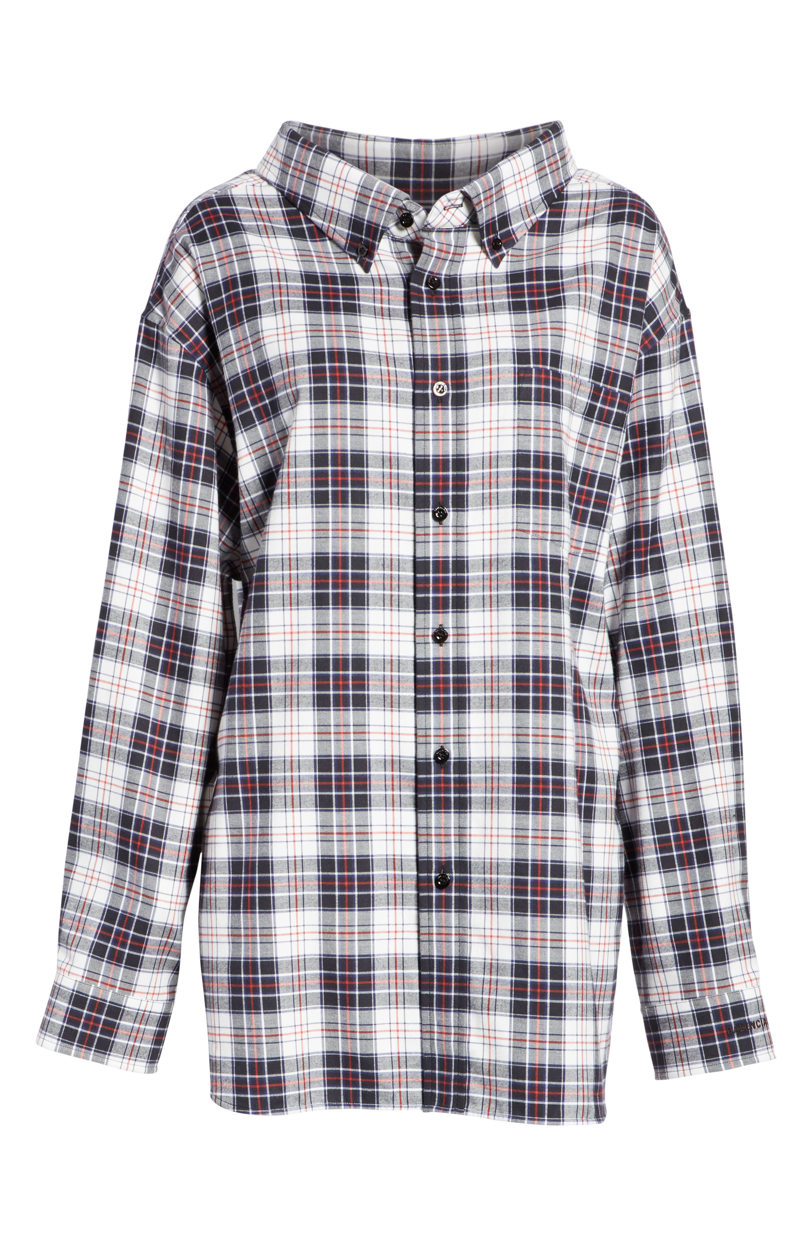 Swing Plaid Flannel Shirt,                             Alternate thumbnail 6, color,                             120
