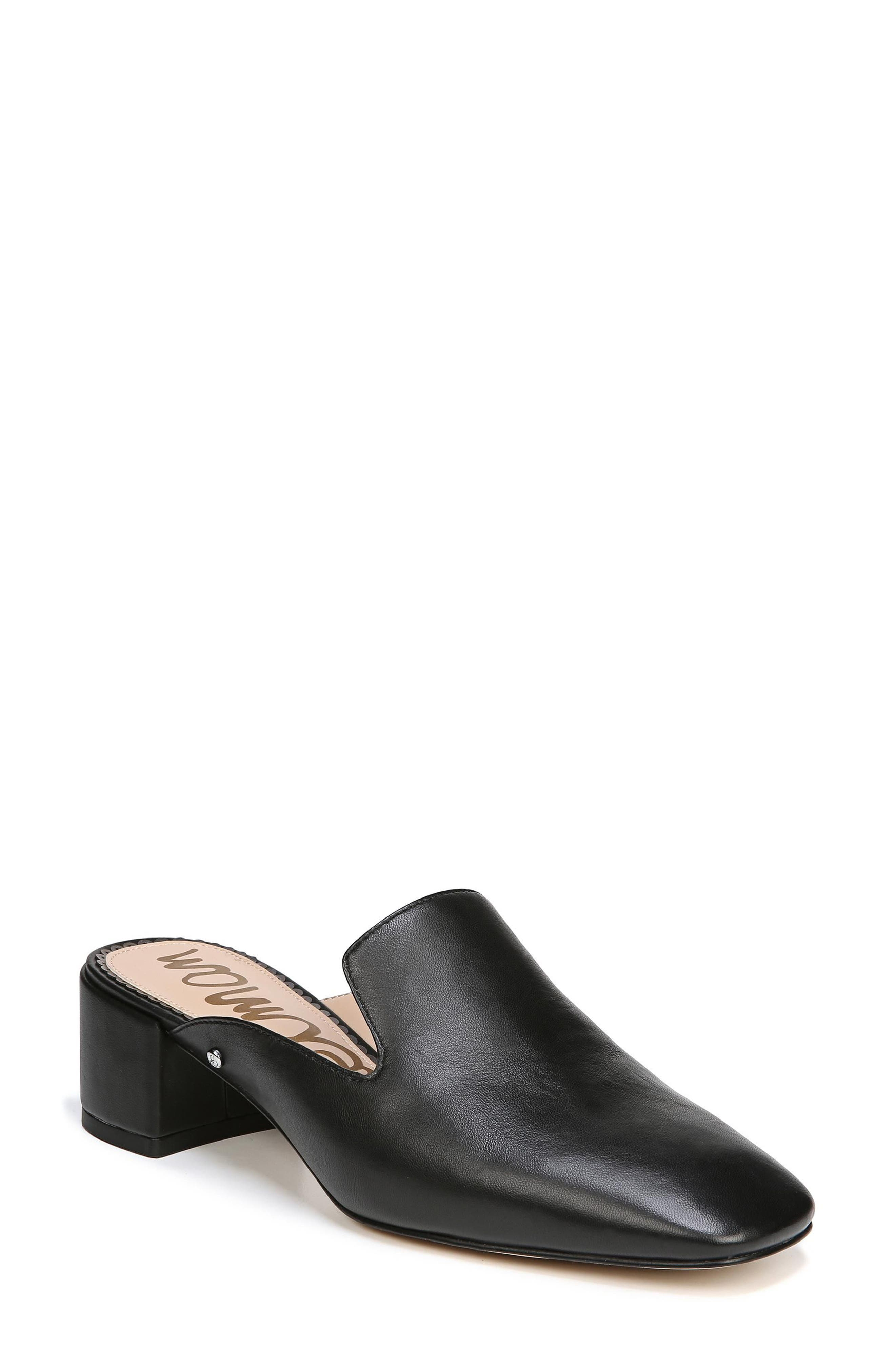 Adair Loafer Mule,                         Main,                         color, BLACK LEATHER