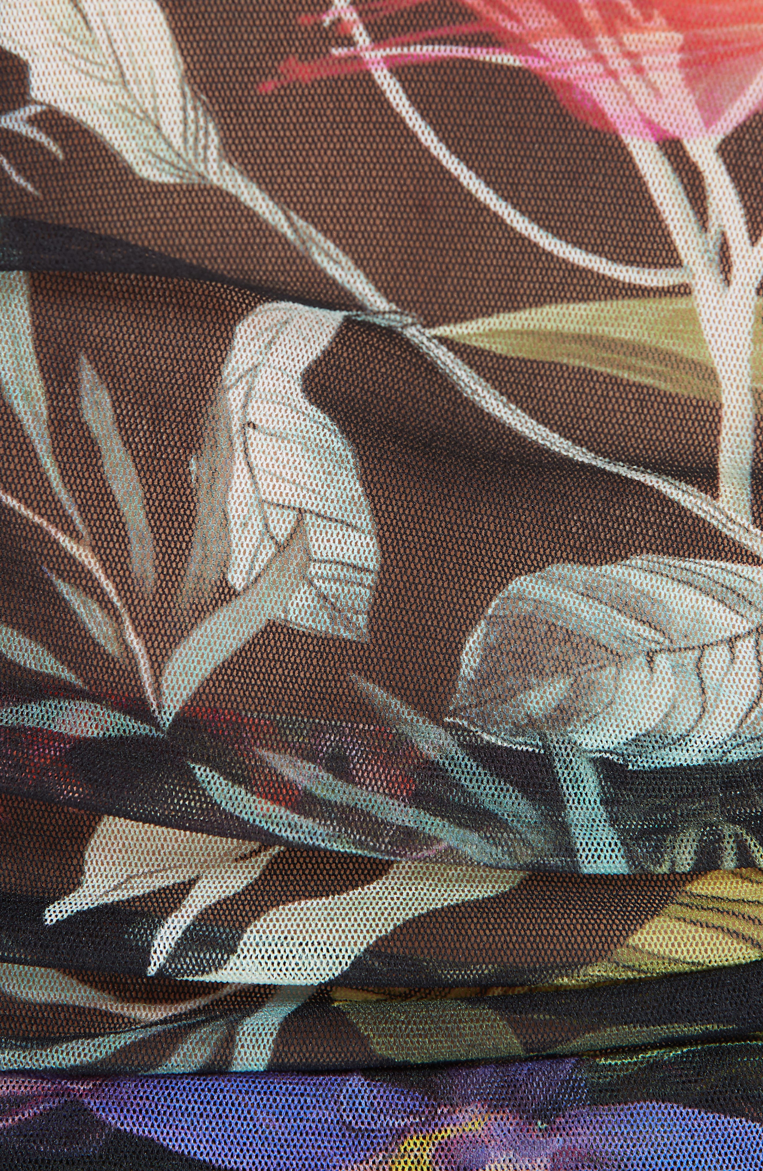 Print Tulle Two-Piece Tankini Swimsuit,                             Alternate thumbnail 5, color,                             NERO