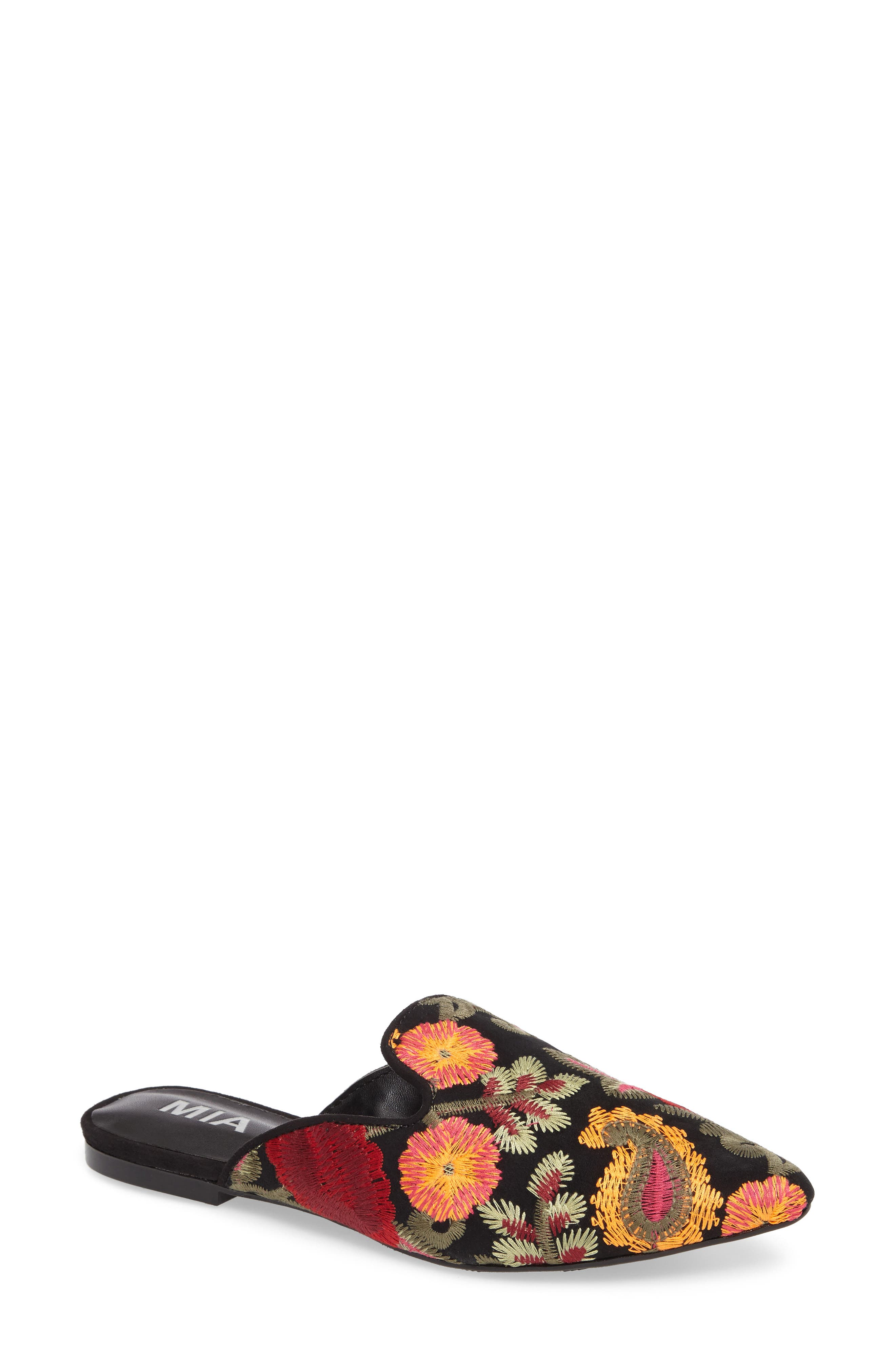 Cameo Embroidered Mule,                             Main thumbnail 1, color,                             001
