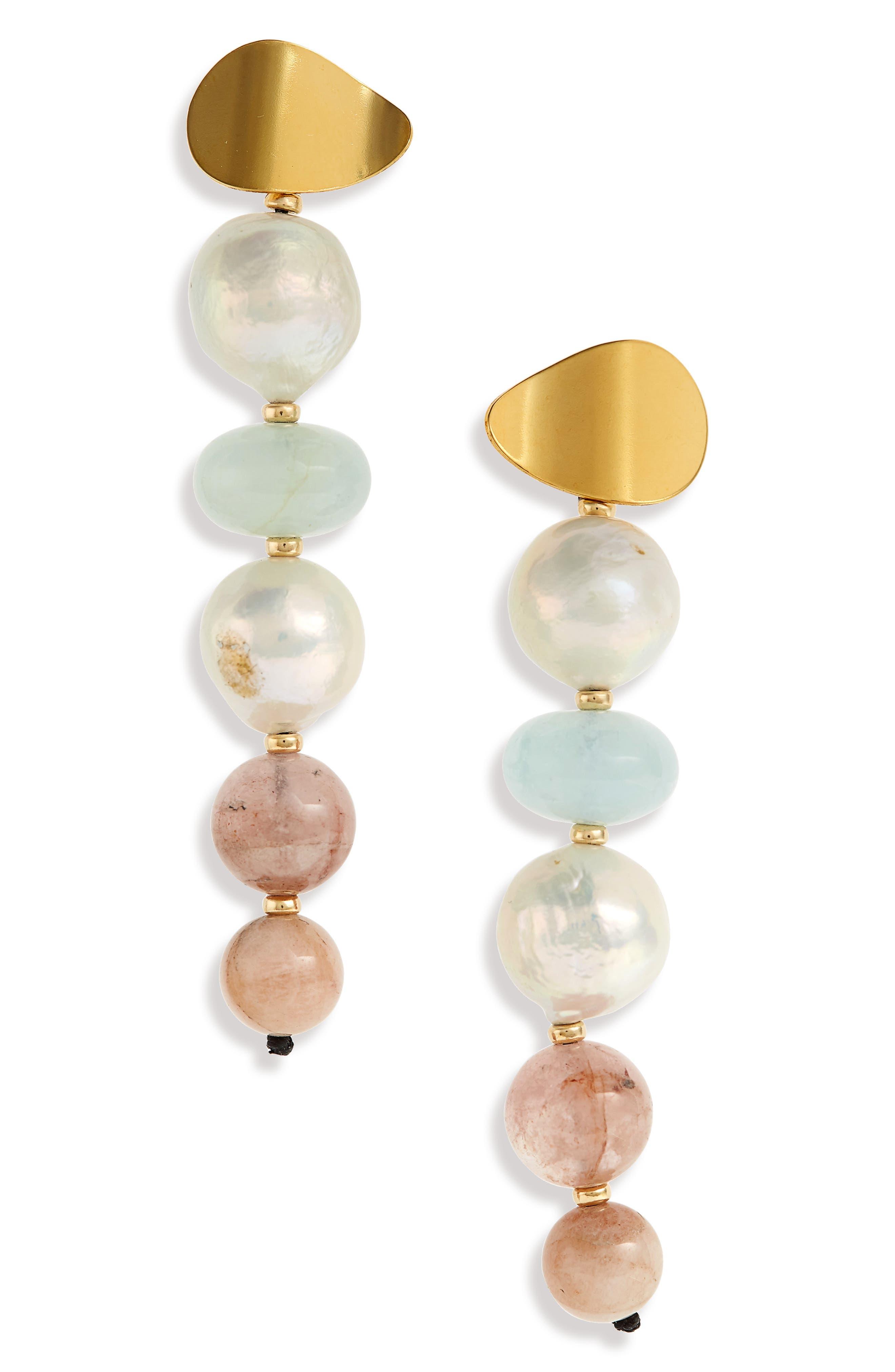 Pearl Pastel Column Earrings,                         Main,                         color, WHITE MULTI