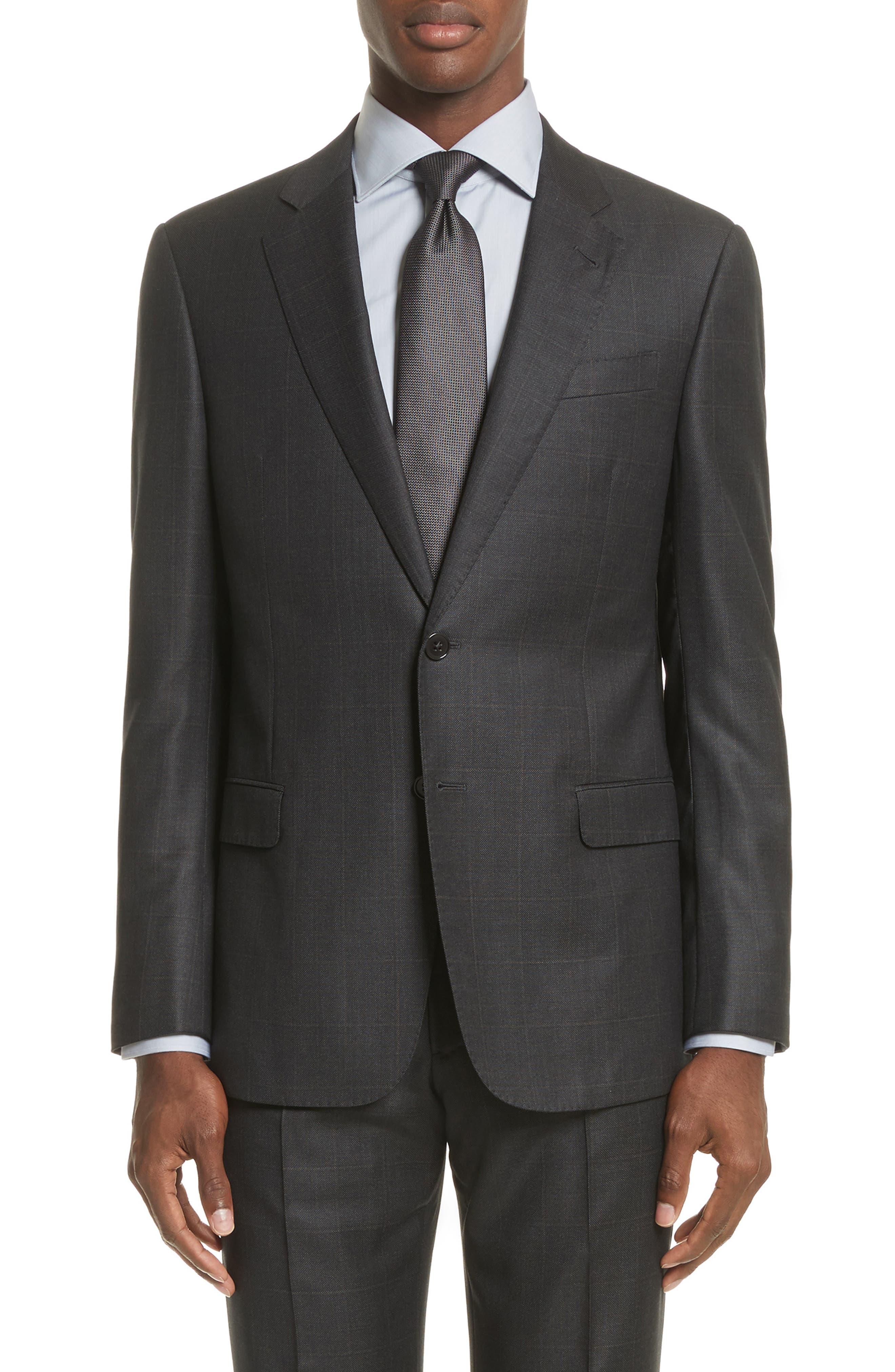G-Line Trim Fit Windowpane Wool Suit,                             Alternate thumbnail 5, color,                             054