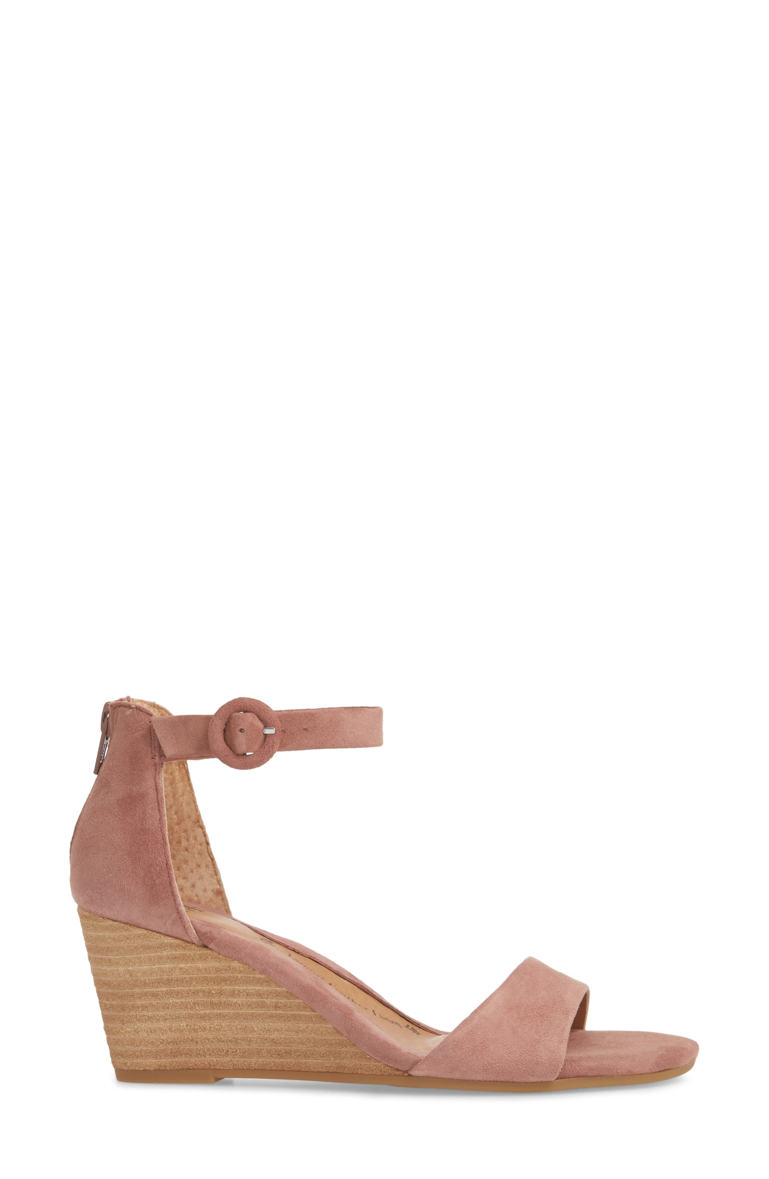 Marla Wedge Sandal,                             Alternate thumbnail 3, color,                             MULBERRY SUEDE